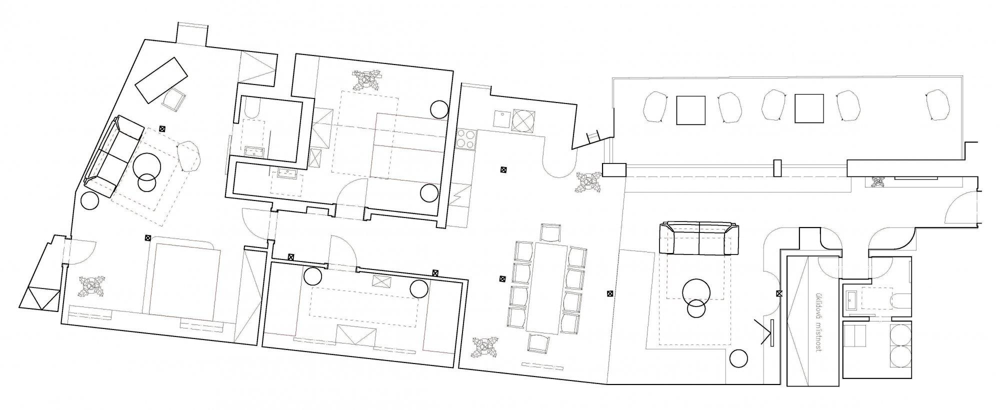 Půdorys - Půdní byt 4+kk, plocha 176 m², ulice Jilská, Praha 1 - Staré Město