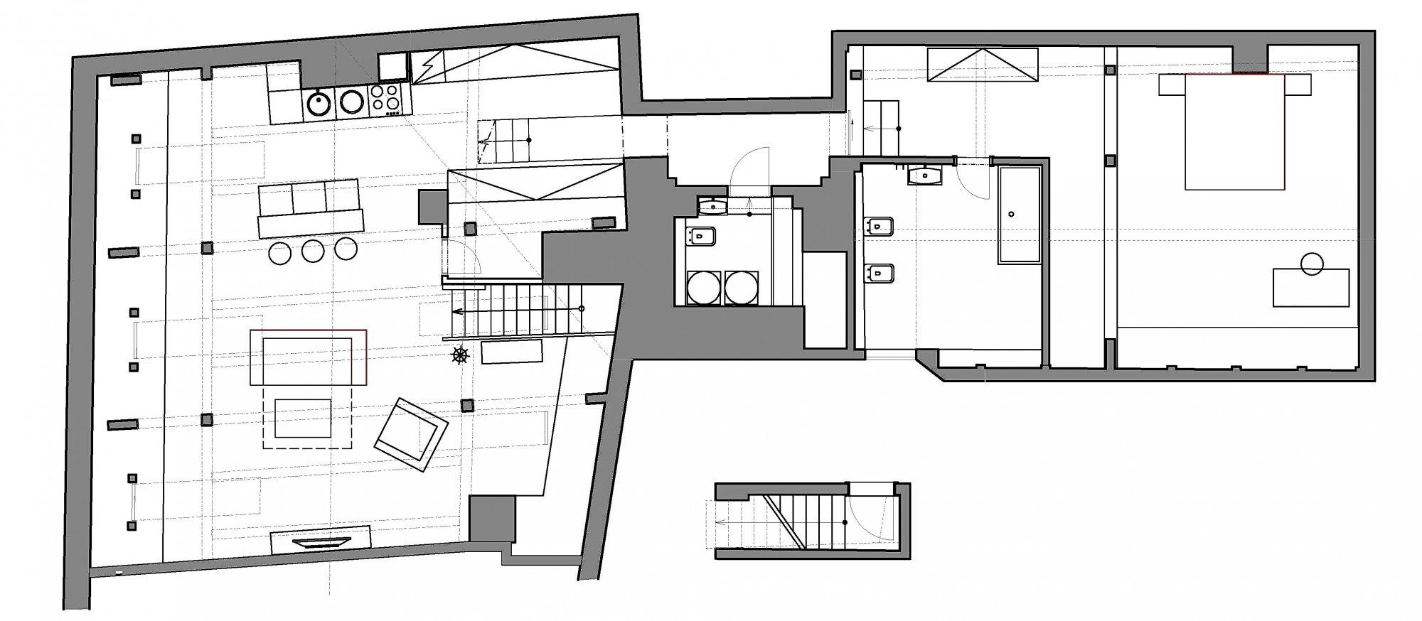 Půdorys - Půdní byt 2+kk, plocha 127 m², ulice Thunovská, Praha 1 - Malá Strana