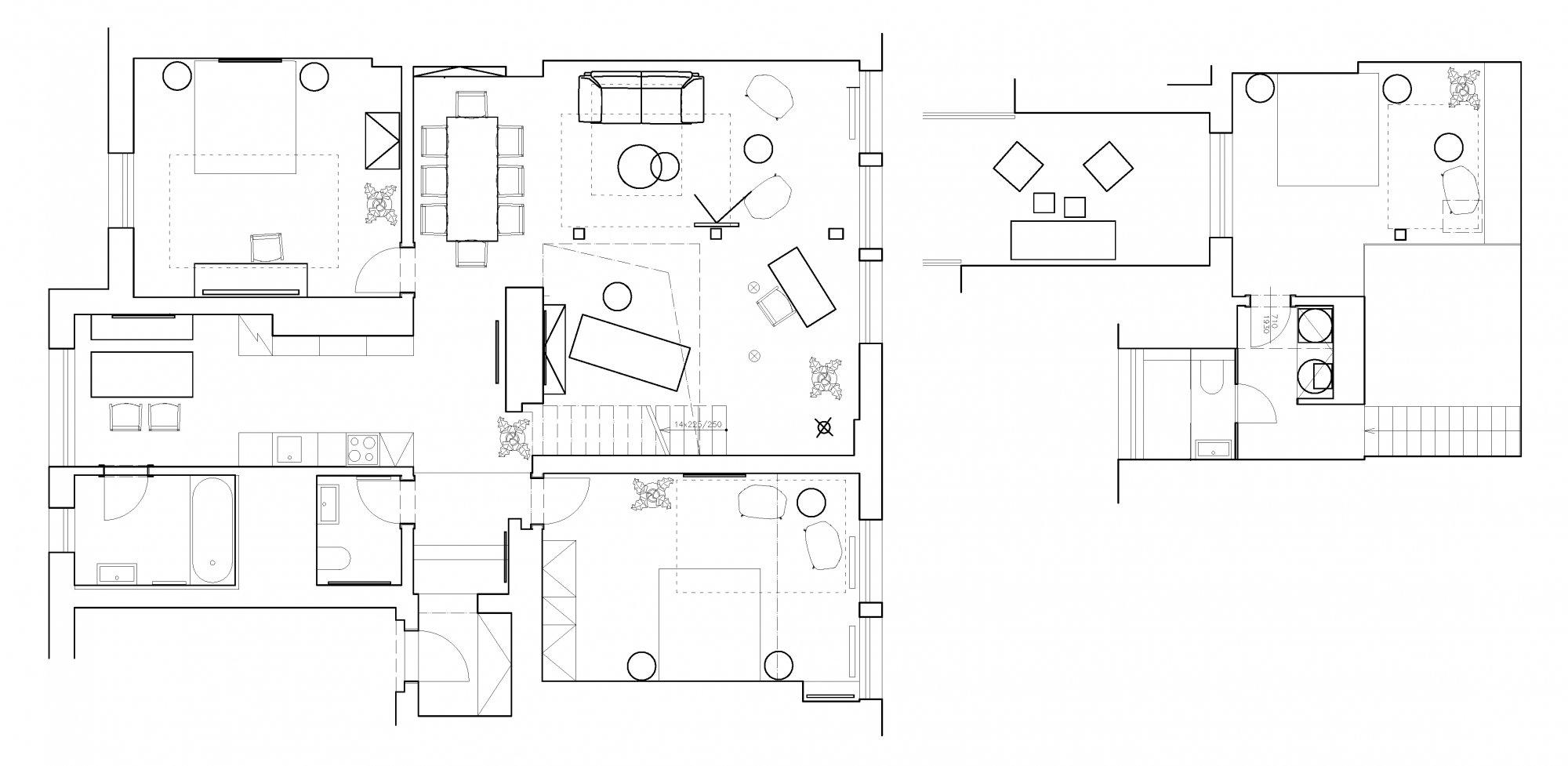 Půdorys - Půdní byt 4+kk, plocha 156 m², ulice Vojtěšská, Praha 1 - Nové Město