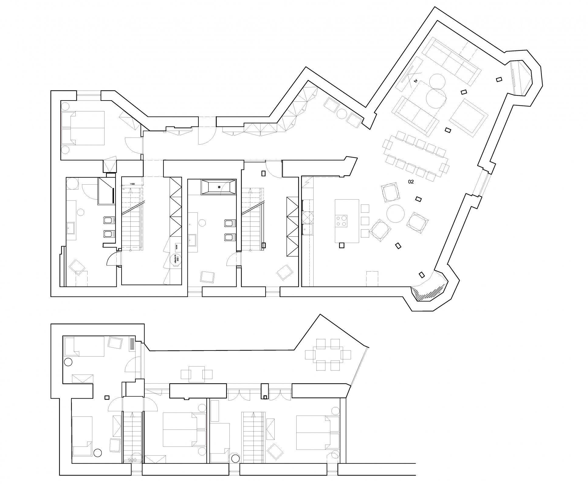 Půdorys - Půdní byt 5+kk, plocha 208 m², ulice Vodičkova, Praha 1 - Nové Město