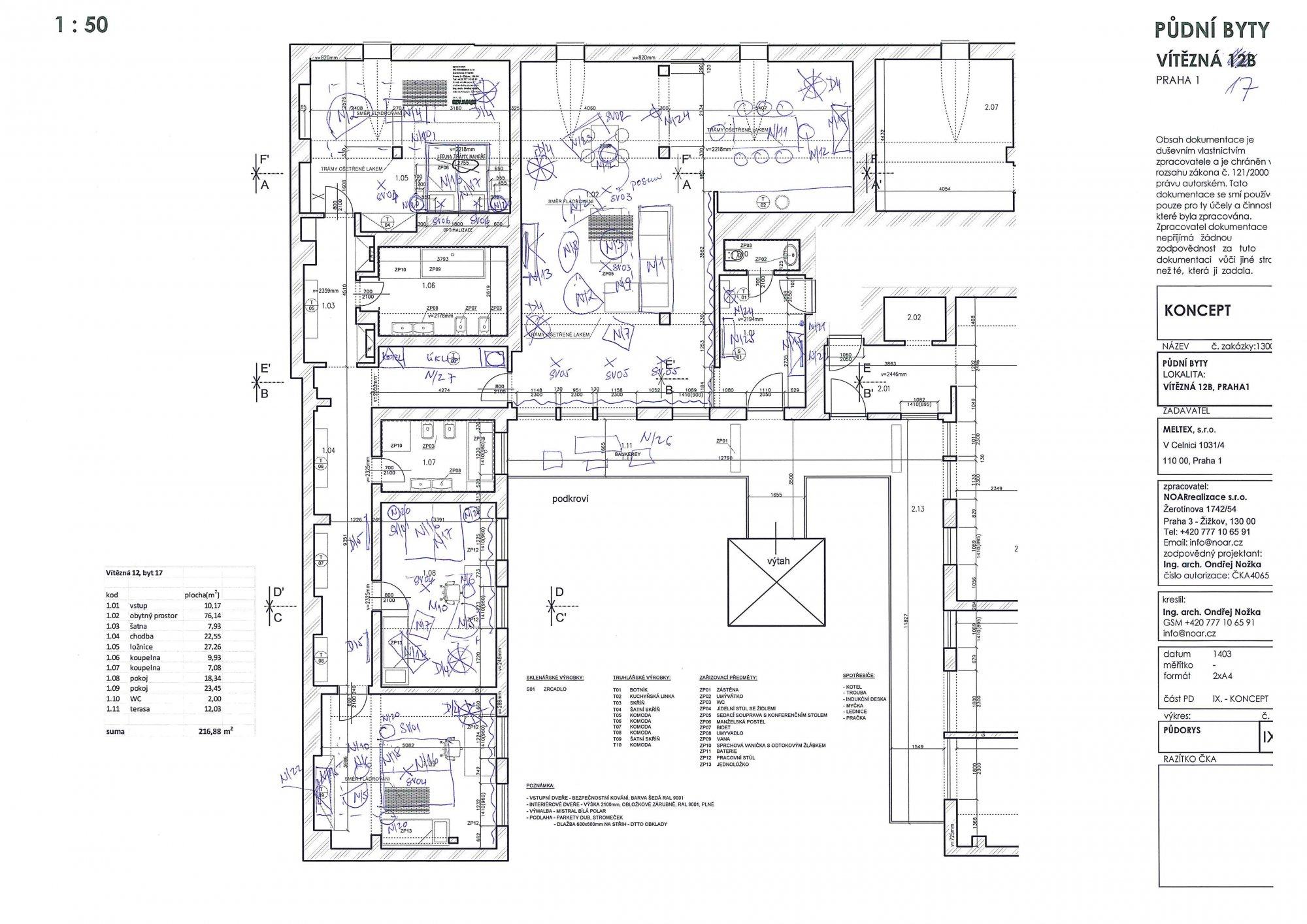 Půdorys - Půdní byt 4+kk, plocha 213 m², ulice Vítězná, Praha 1 - Malá Strana