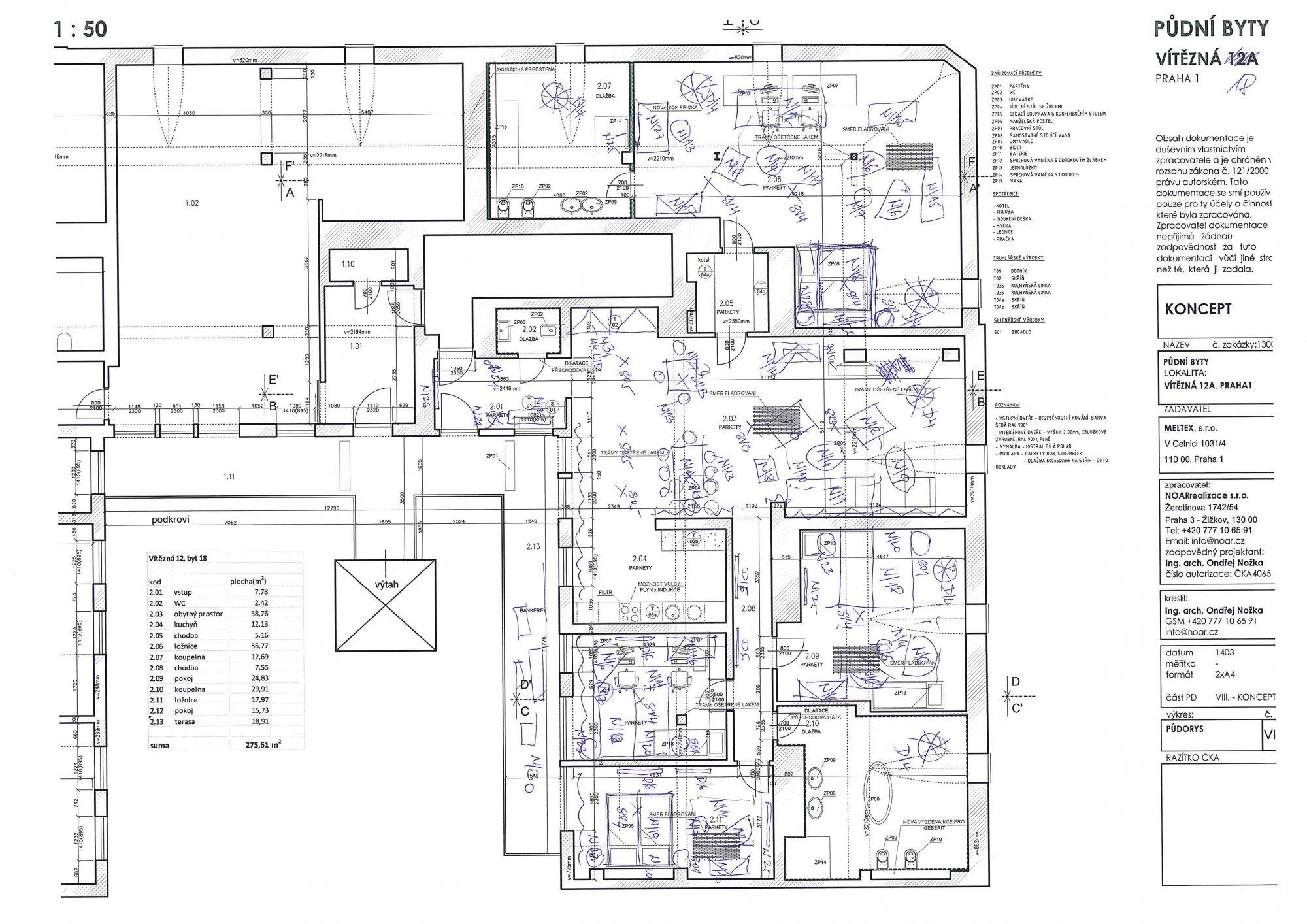 Půdorys - Půdní byt 5+kk, plocha 281 m², ulice Vítězná, Praha 1 - Malá Strana