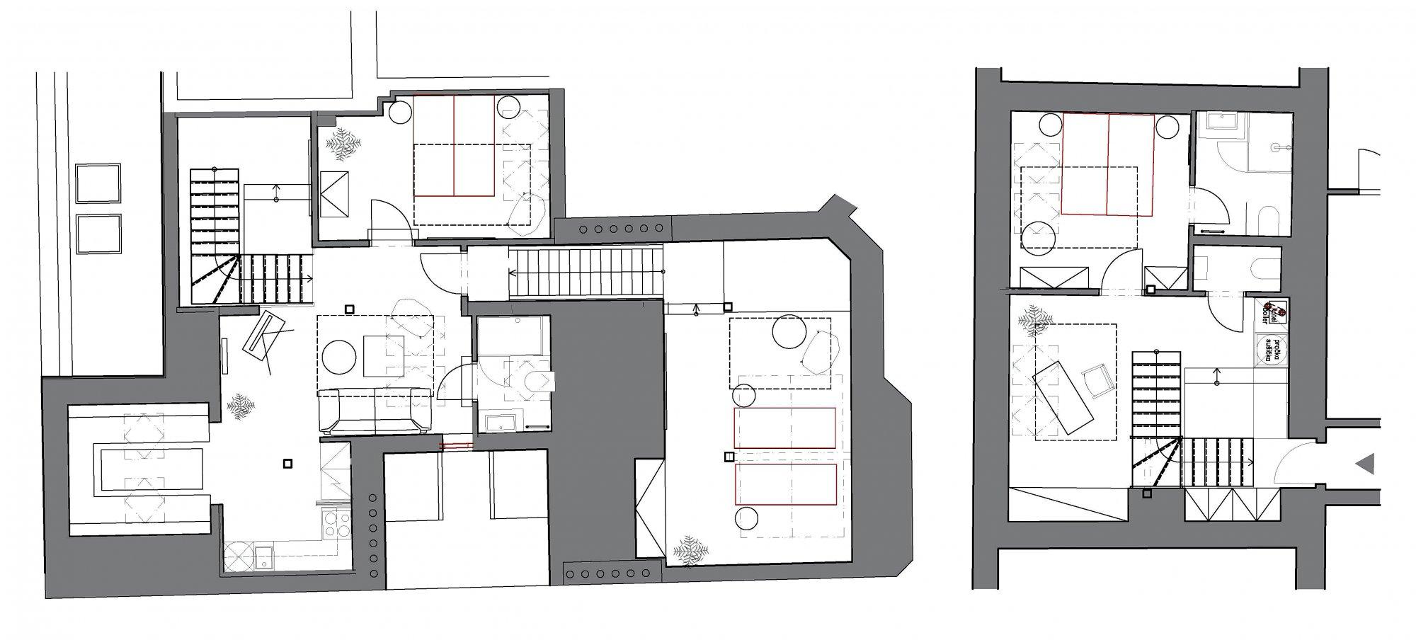 Půdorys - Půdní byt 3+kk, plocha 127 m², ulice Myslíkova, Praha 1 - Nové Město