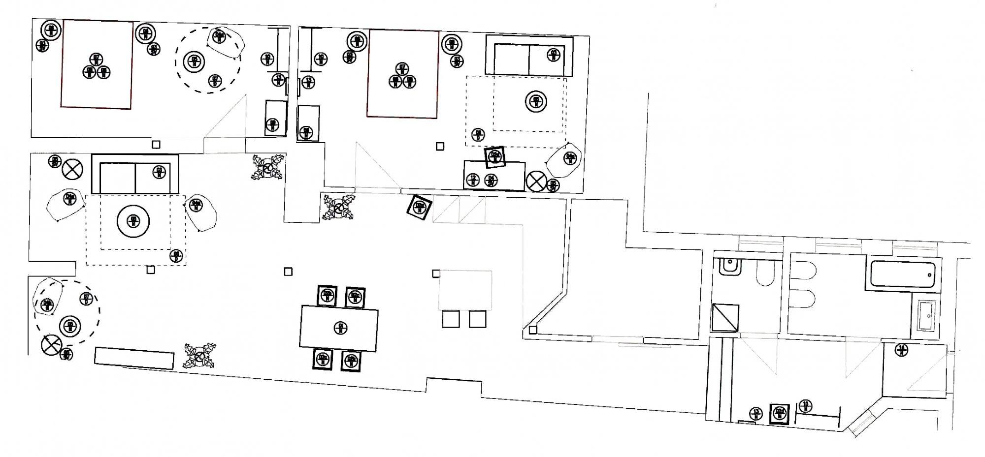 Půdorys - Půdní byt 3+kk, plocha 132 m², ulice Spálená, Praha 1 - Nové Město