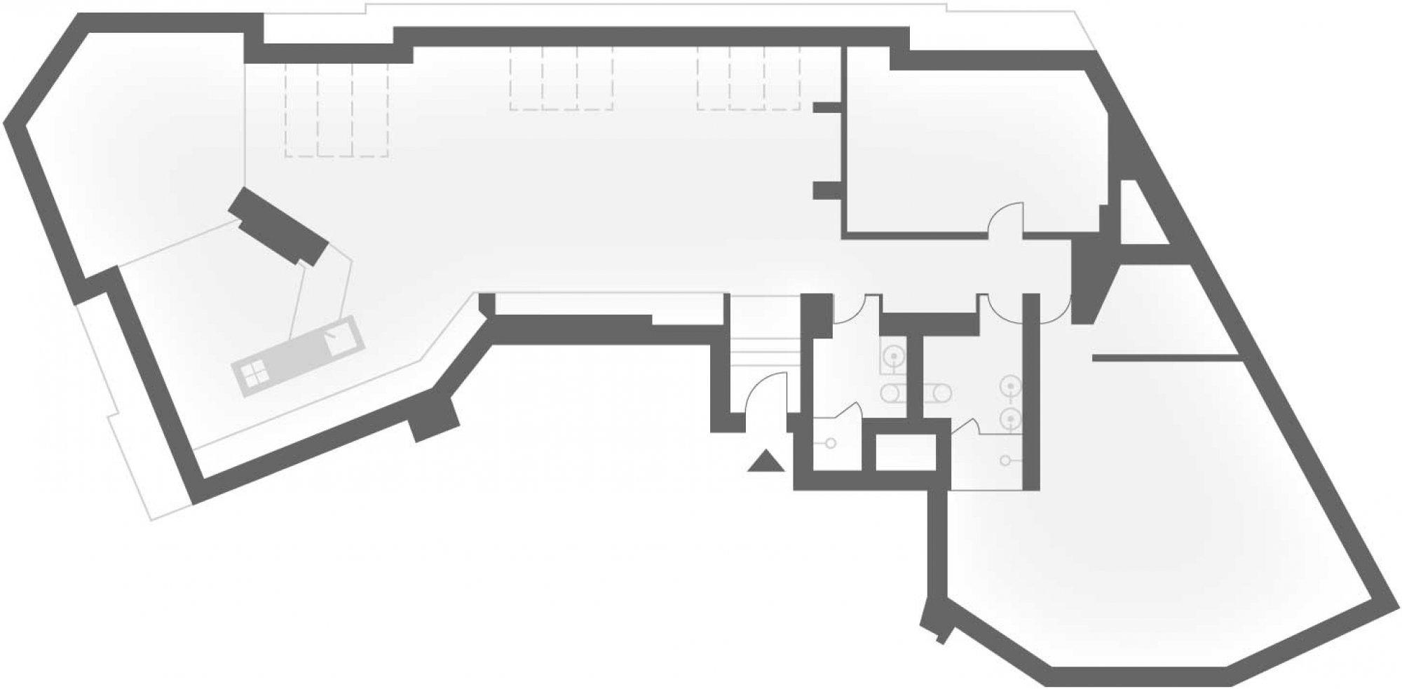 Půdorys - Půdní byt 4+kk, plocha 171 m², ulice Navrátilova, Praha 1 - Nové Město