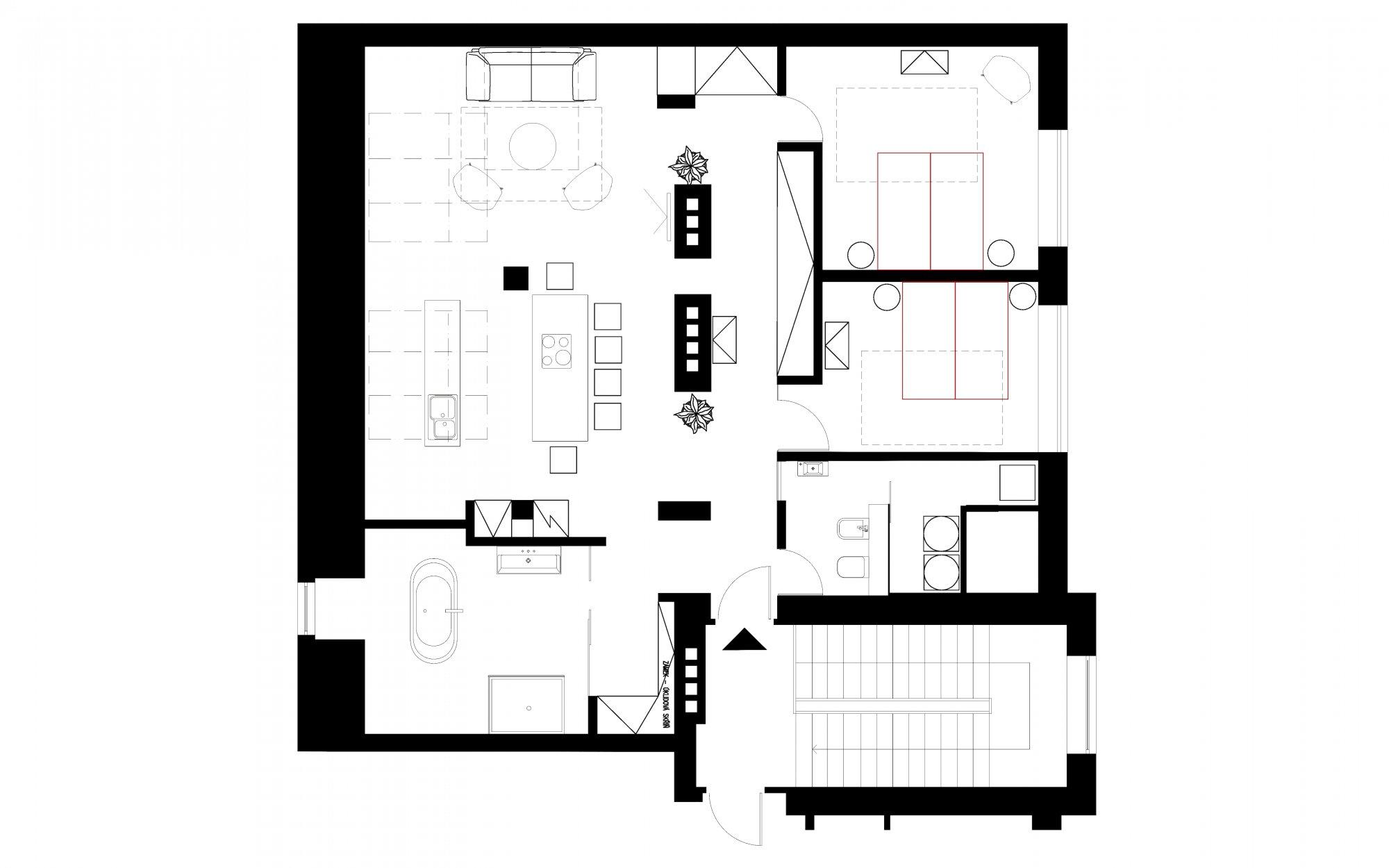 Půdorys - Půdní byt 3+kk, plocha 115 m², ulice Zlatnická, Praha 1 - Nové Město