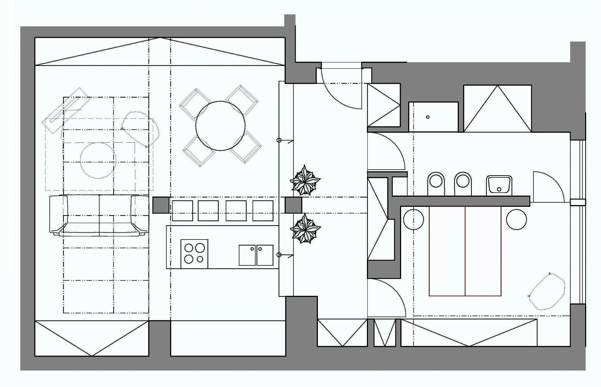 Půdorys - Půdní byt 2+kk, plocha 76 m², ulice Zlatnická, Praha 1 - Nové Město
