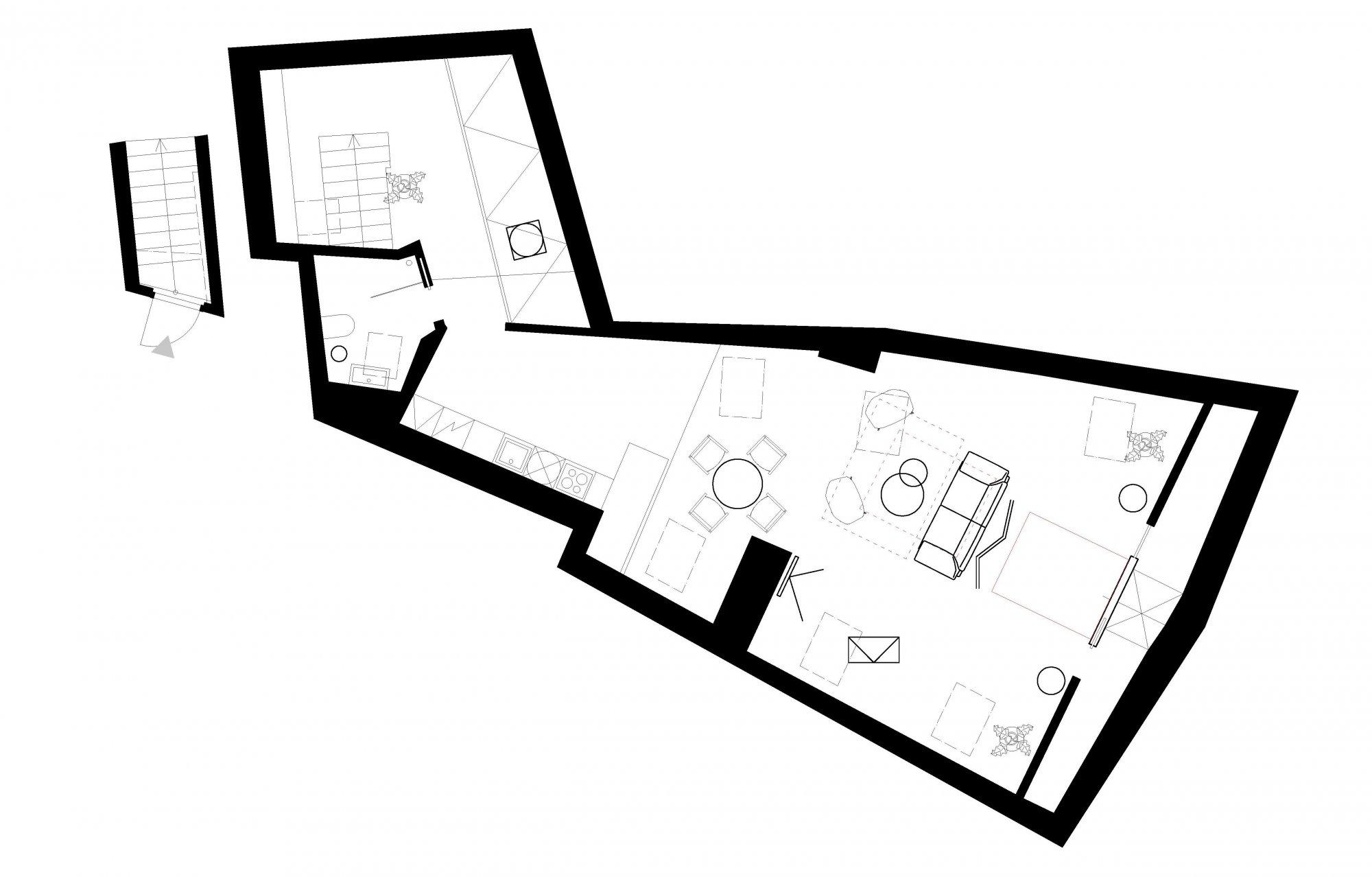 Půdorys - Půdní byt 1+kk, plocha 113 m², ulice Malostranské náměstí, Praha 1 - Malá Strana