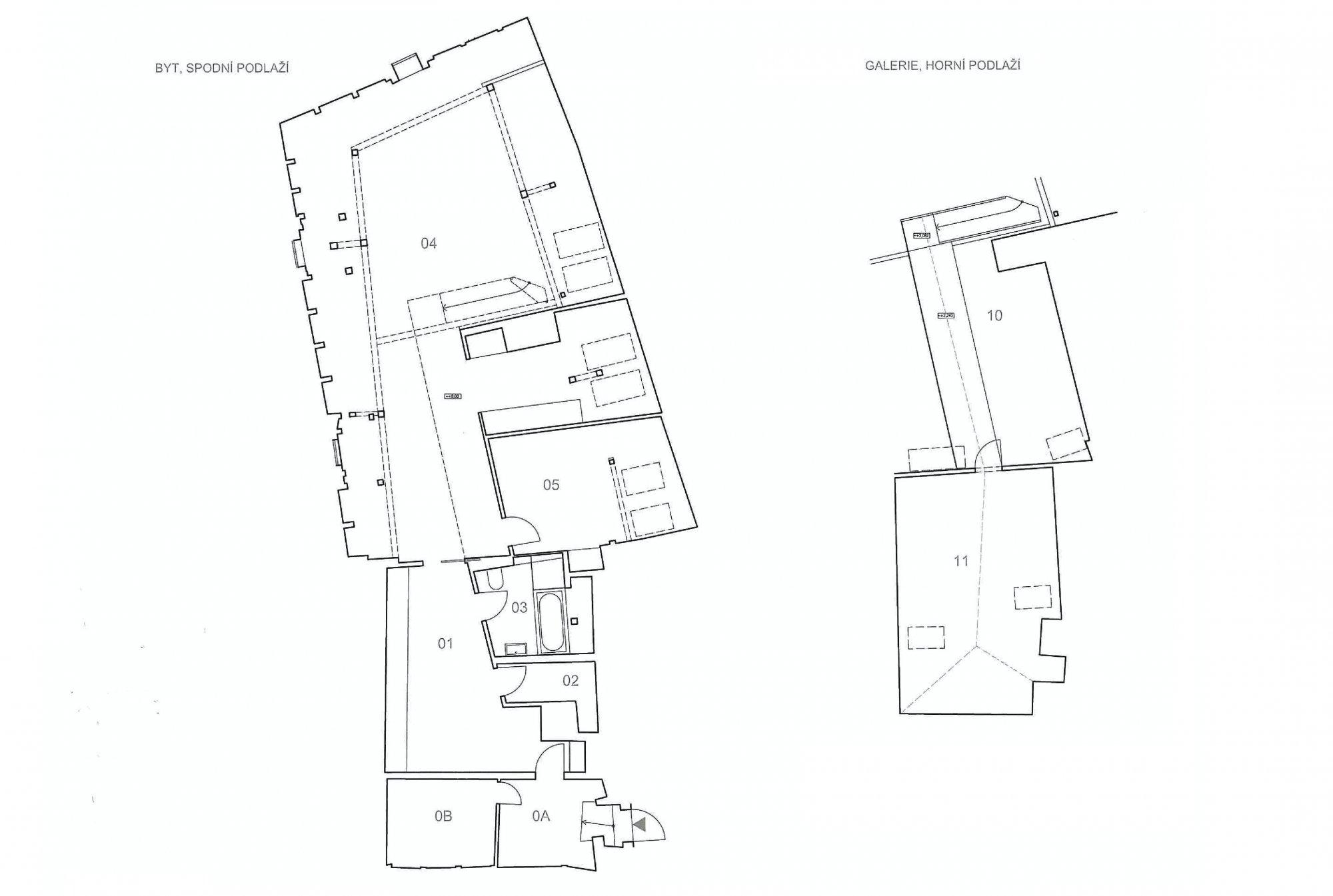 Půdorys - Půdní byt 2+kk, plocha 145 m², ulice Malostranské náměstí, Praha 1 - Malá Strana