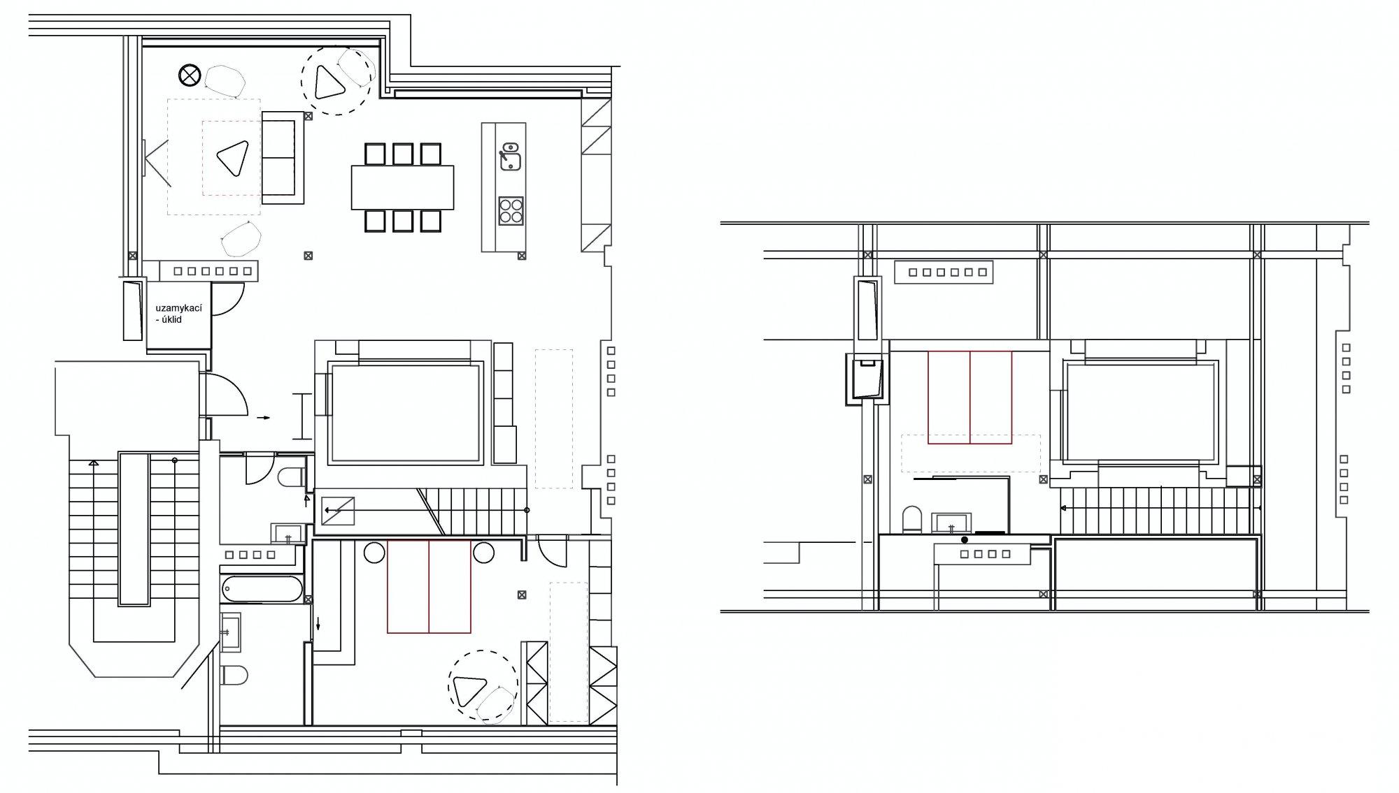 Půdorys - Půdní byt 3+kk, plocha 133 m², ulice Hellichova, Praha 1 - Malá Strana