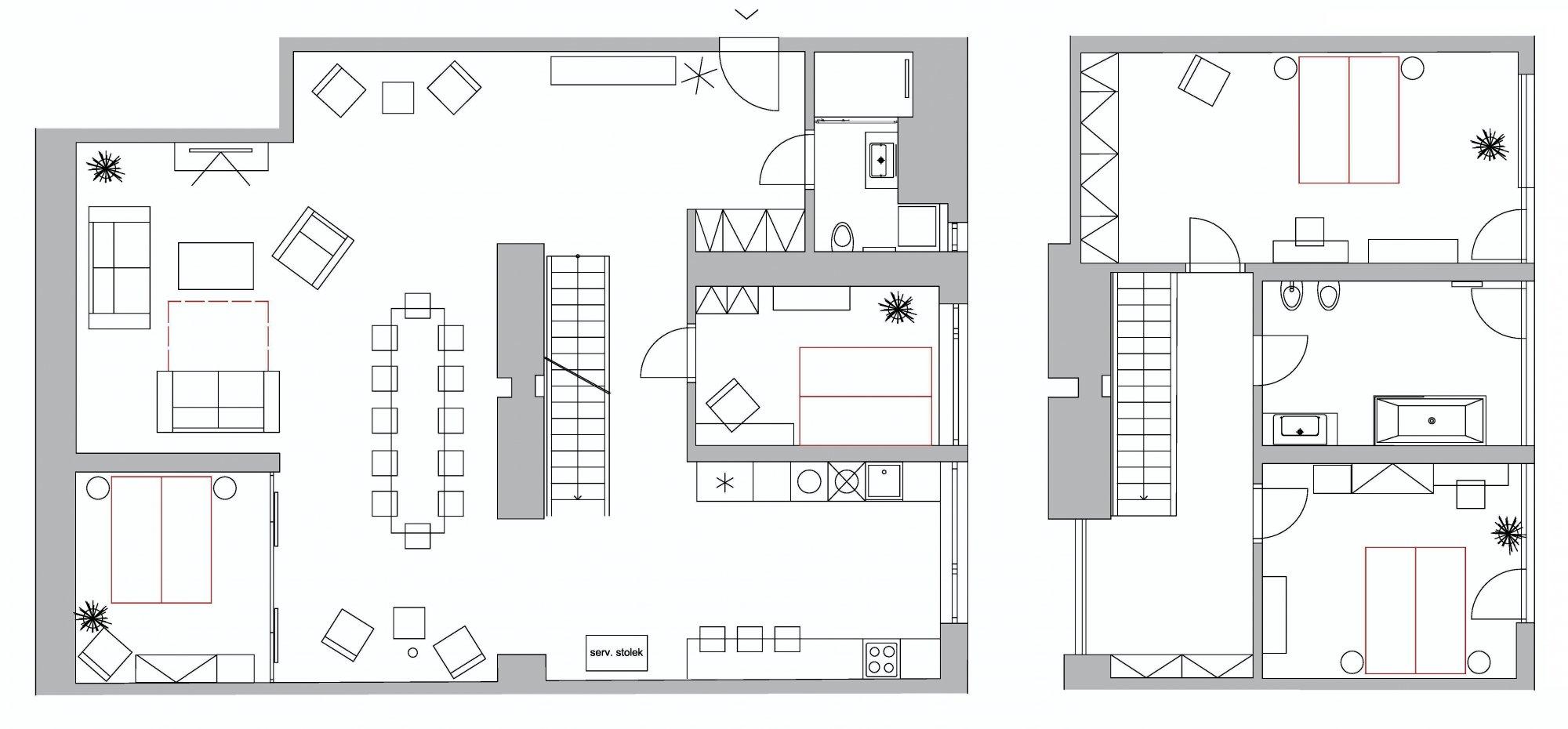 Půdorys - Půdní byt 5+kk, plocha 194 m², ulice Dlážděná, Praha 1 - Nové Město