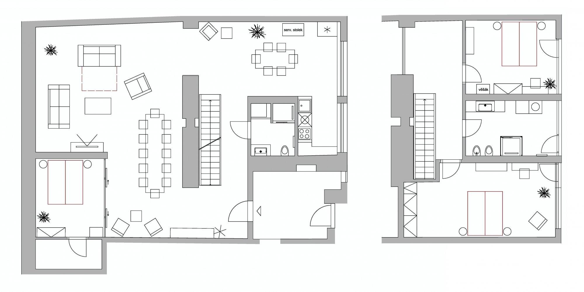 Půdorys - Půdní byt 4+kk, plocha 187 m², ulice Dlážděná, Praha 1 - Nové Město