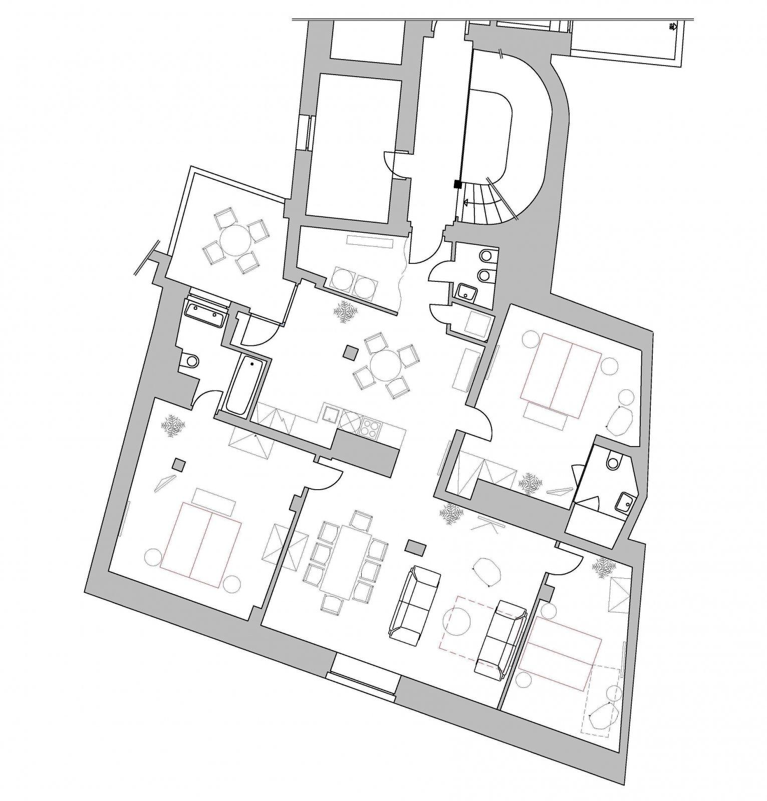 Půdorys - Půdní byt 4+kk, plocha 159 m², ulice Ve Smečkách, Praha 1 - Nové Město