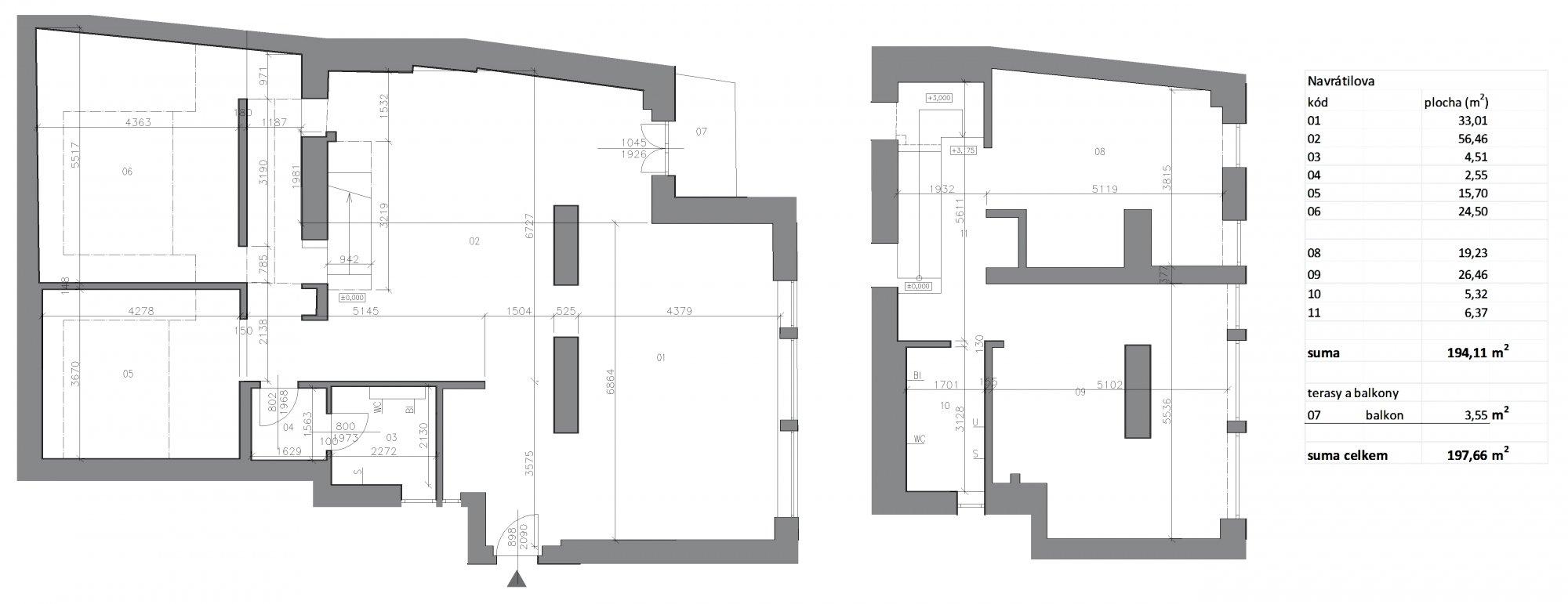Půdorys - Půdní byt 5+kk, plocha 198 m², ulice Navrátilova, Praha 1 - Nové Město