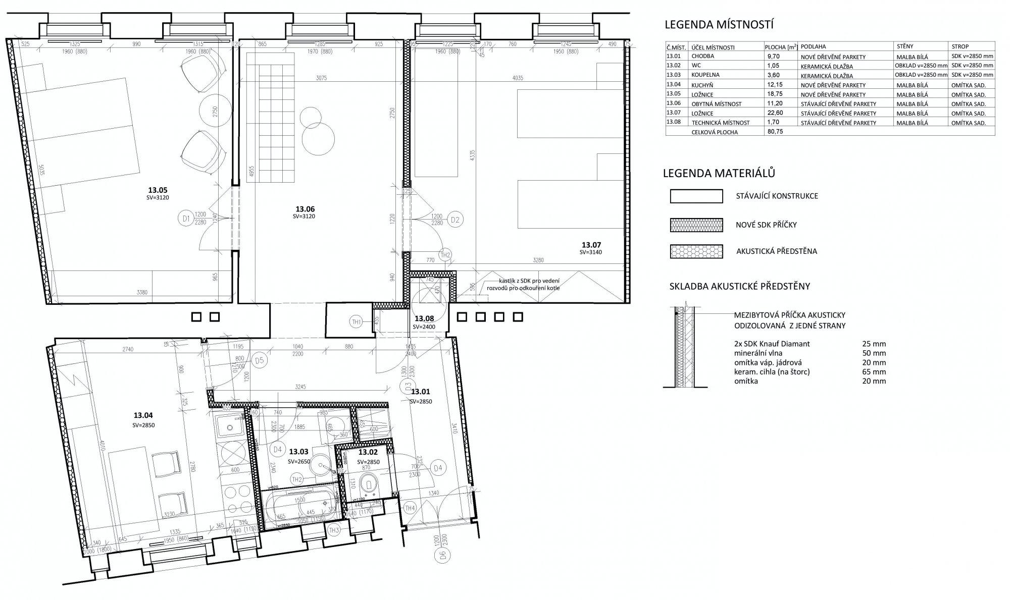 Půdorys - Půdní byt 3+1, plocha 81 m², ulice Petrské náměstí, Praha 1 - Nové Město