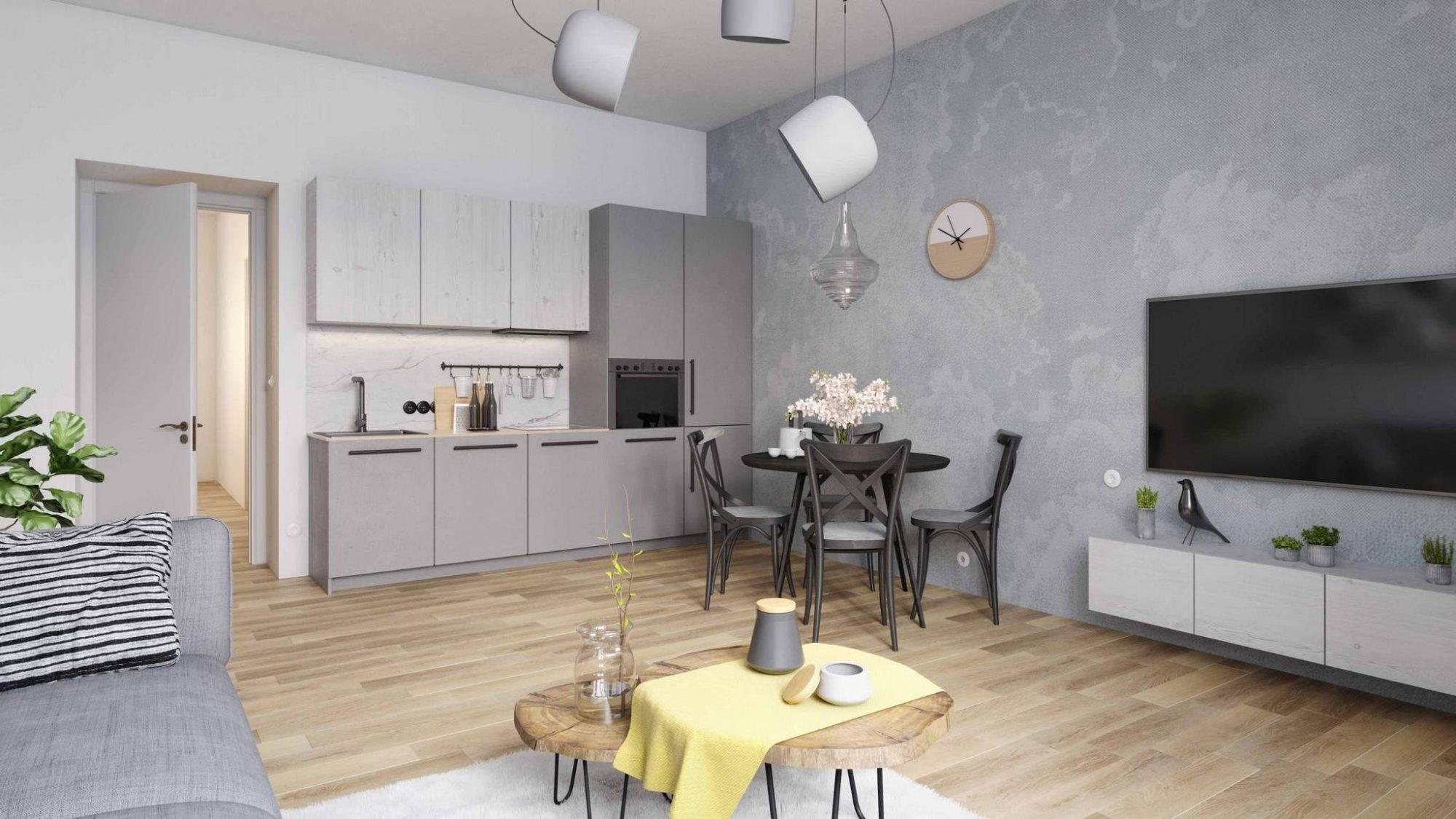 Vizulizace jednoho z bytů Pod Korábem - Půdní byt 1+kk, plocha 30 m², ulice Lindnerova, Praha 8 - Libeň | 1