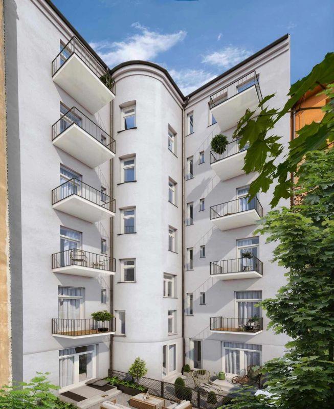 Pohled dvorní - developerský projekt Nad Korábem, ulice Lindnerova, Praha 8 - Libeň | 6