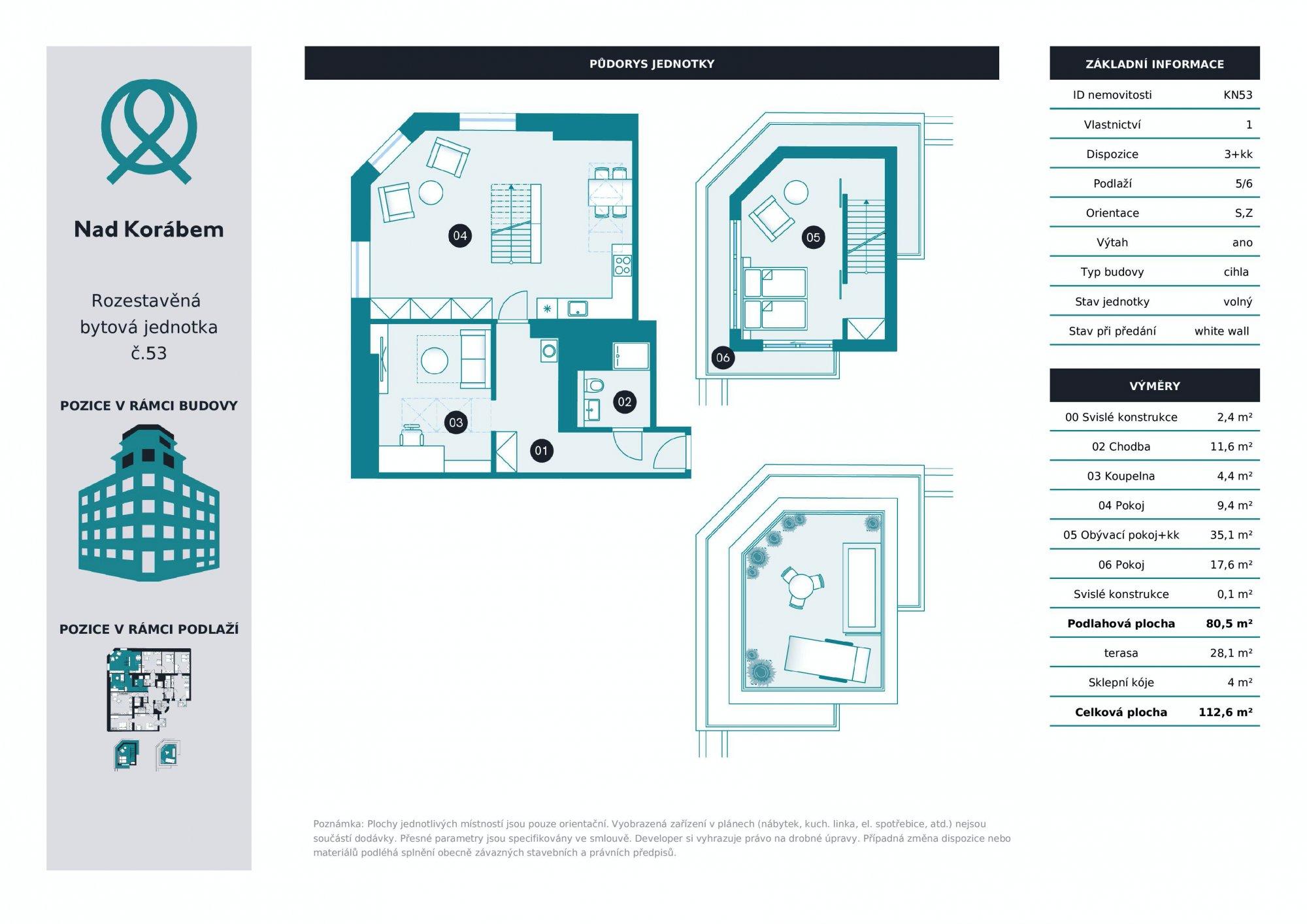 Půdorys - Půdní byt 3+kk, plocha 112 m², ulice Lindnerova, Praha 8 - Libeň