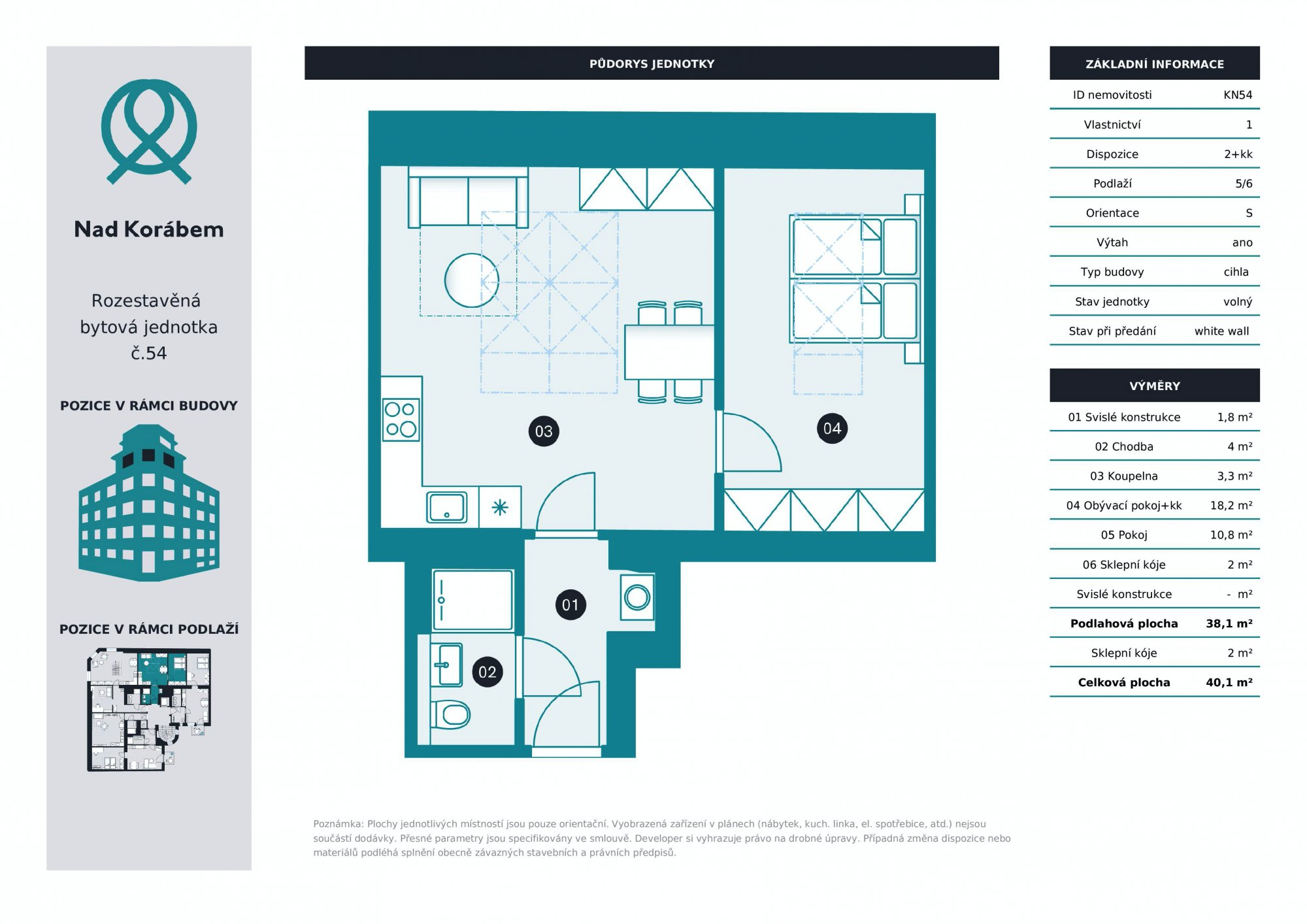 Půdorys - Půdní byt 2+kk, plocha 40 m², ulice Lindnerova, Praha 8 - Libeň