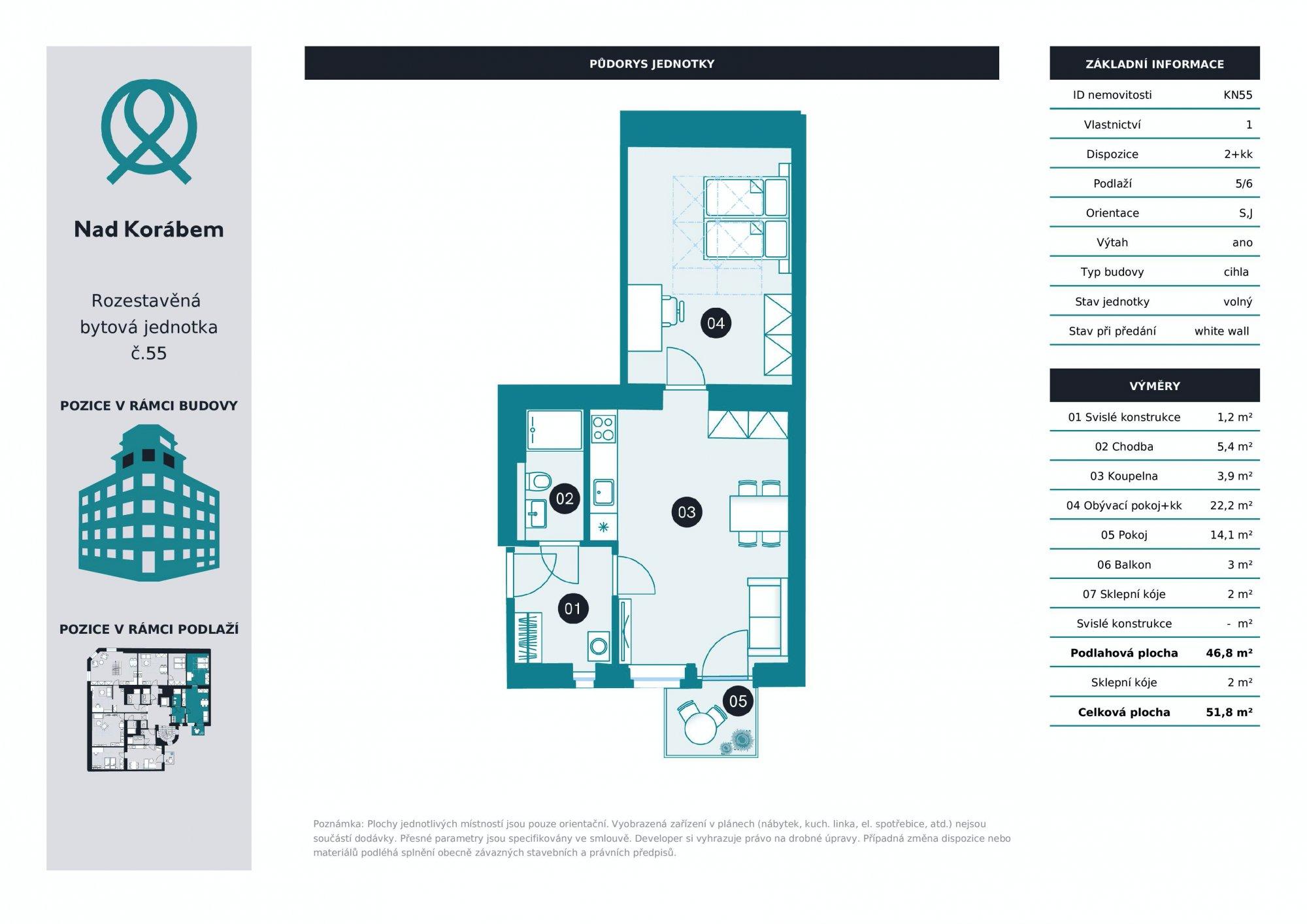 Půdorys - Půdní byt 2+kk, plocha 52 m², ulice Lindnerova, Praha 8 - Libeň