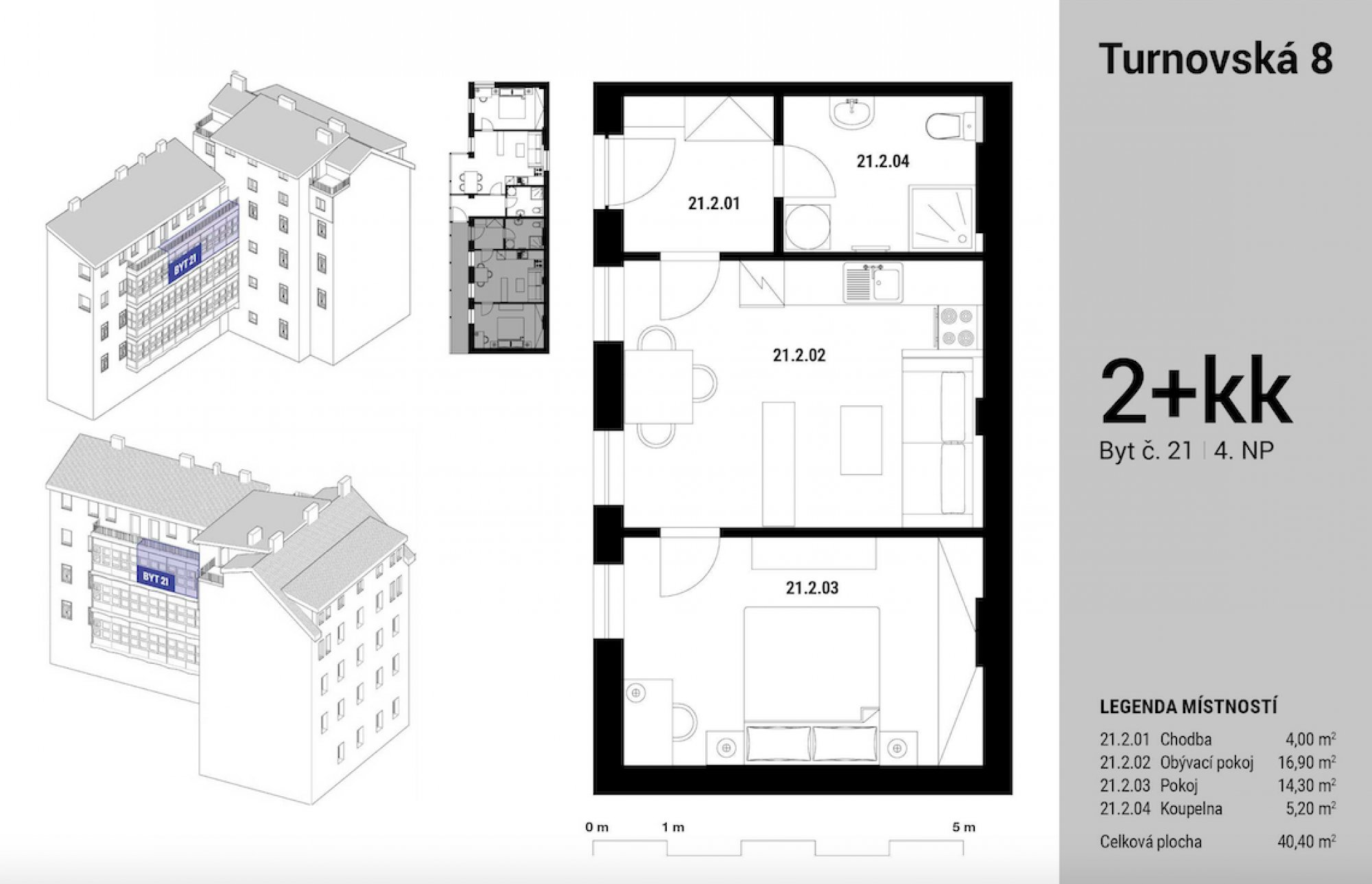 Půdorys - Půdní byt 2+kk, plocha 42 m², ulice Turnovská, Praha 8 - Libeň