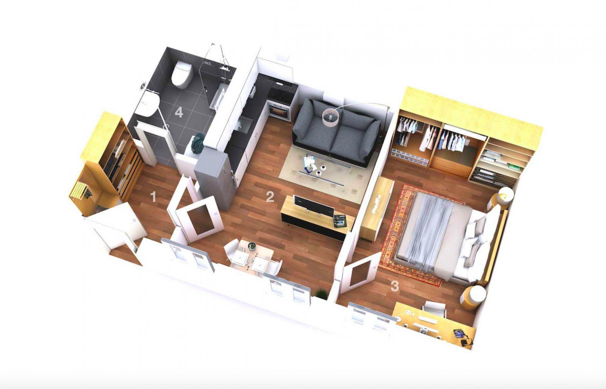 Půdorys - Půdní byt 2+kk, plocha 41 m², ulice Turnovská, Praha 8 - Libeň
