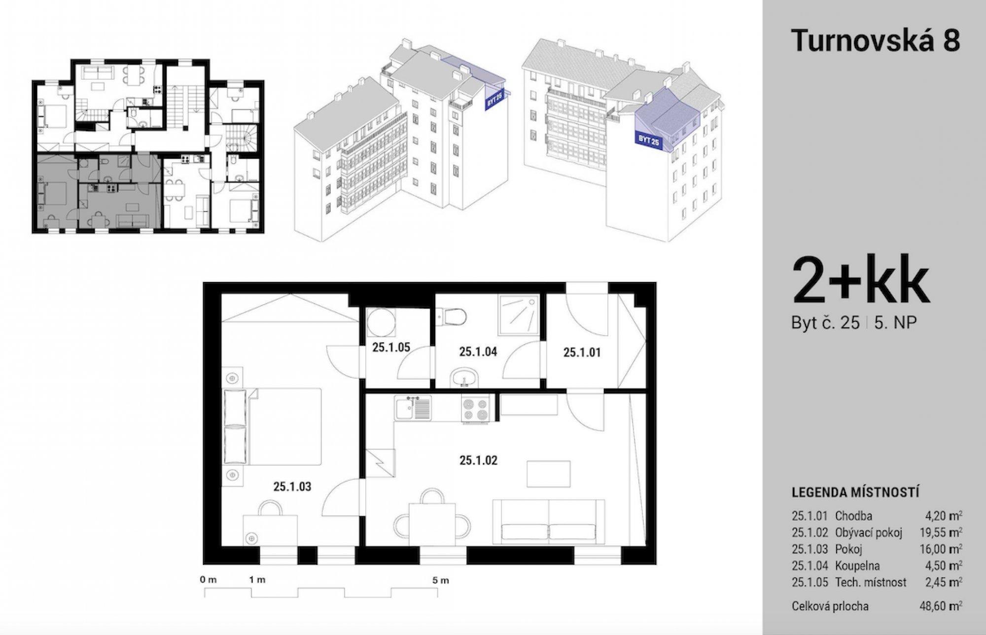 Půdorys - Půdní byt 2+kk, plocha 61 m², ulice Turnovská, Praha 8 - Libeň