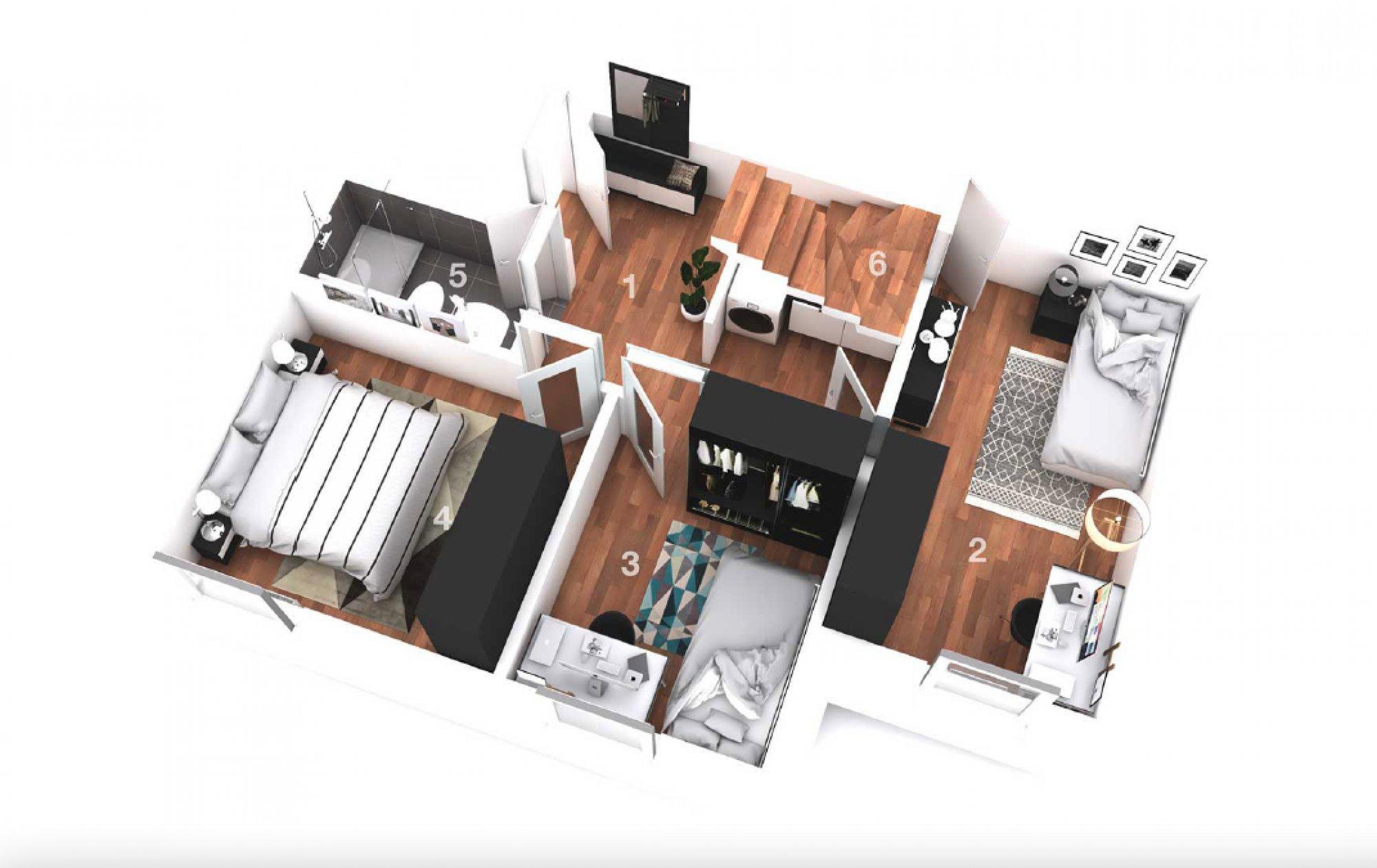 Půdorys - Půdní byt 4+kk, plocha 108 m², ulice Turnovská, Praha 8 - Libeň