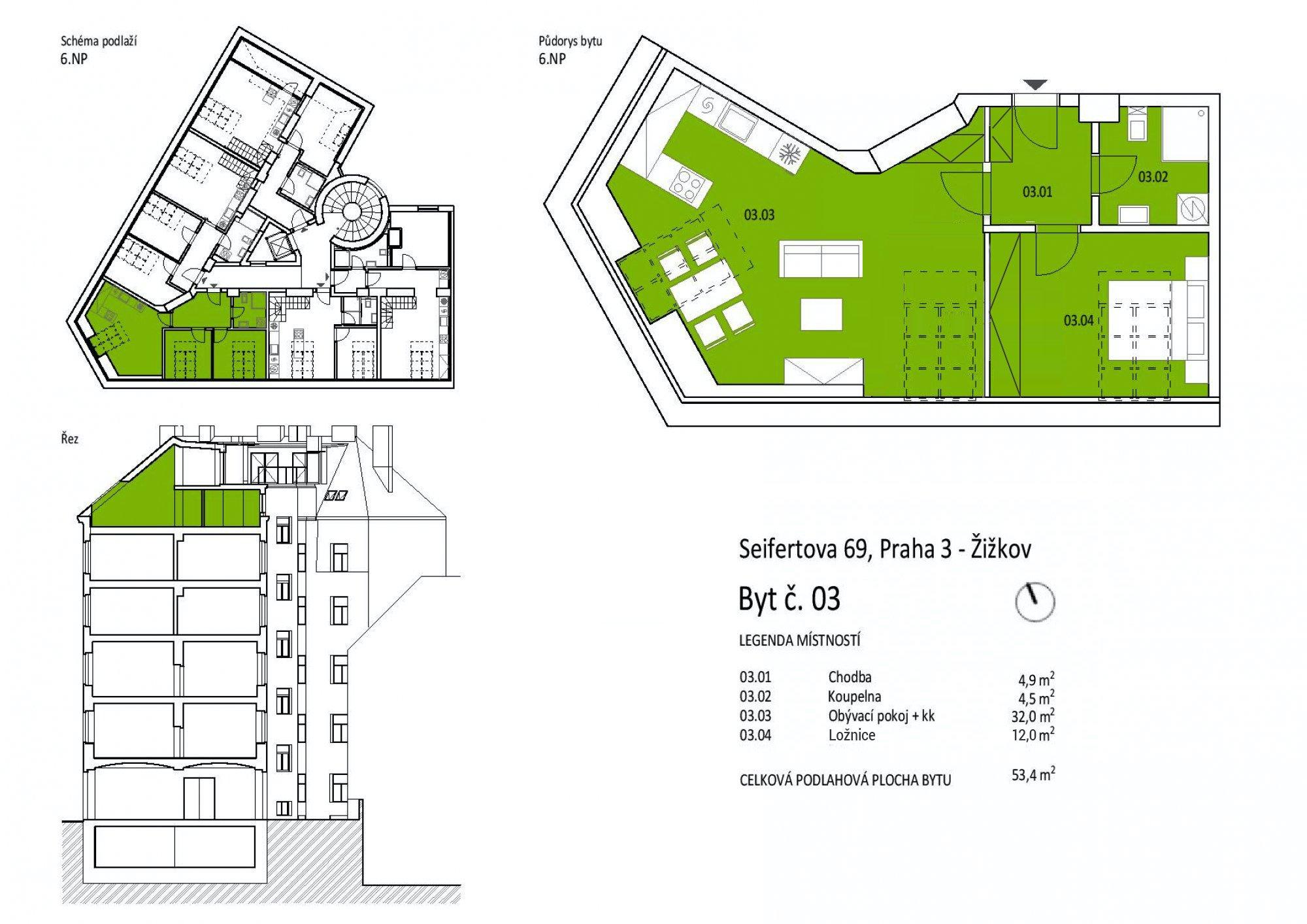 Půdorys - Půdní byt 2+kk, plocha 53 m², ulice Seifertova, Praha 3 - Žižkov