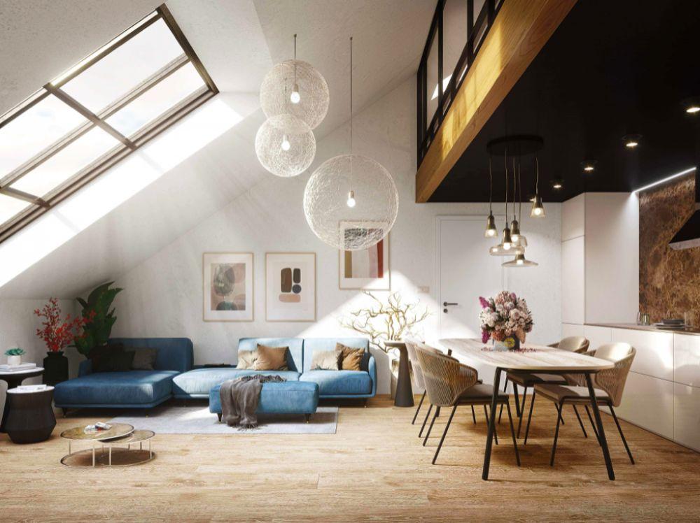 Vizualizace obýváku - Půdní byt 3+kk, plocha 75 m², ulice Legerova, Praha 2 - Nové Město | 6