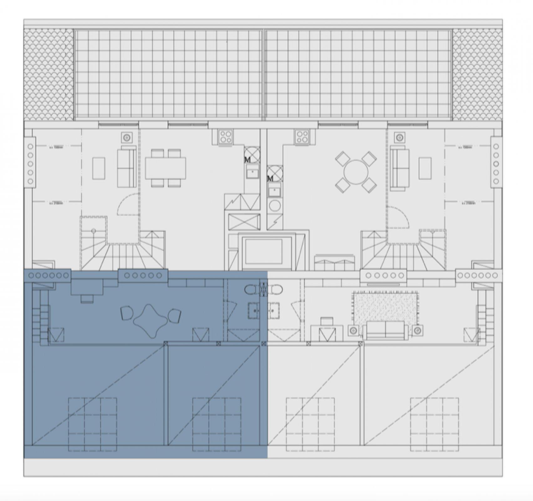 Půdorys - Půdní byt 3+kk, plocha 75 m², ulice Legerova, Praha 2 - Nové Město