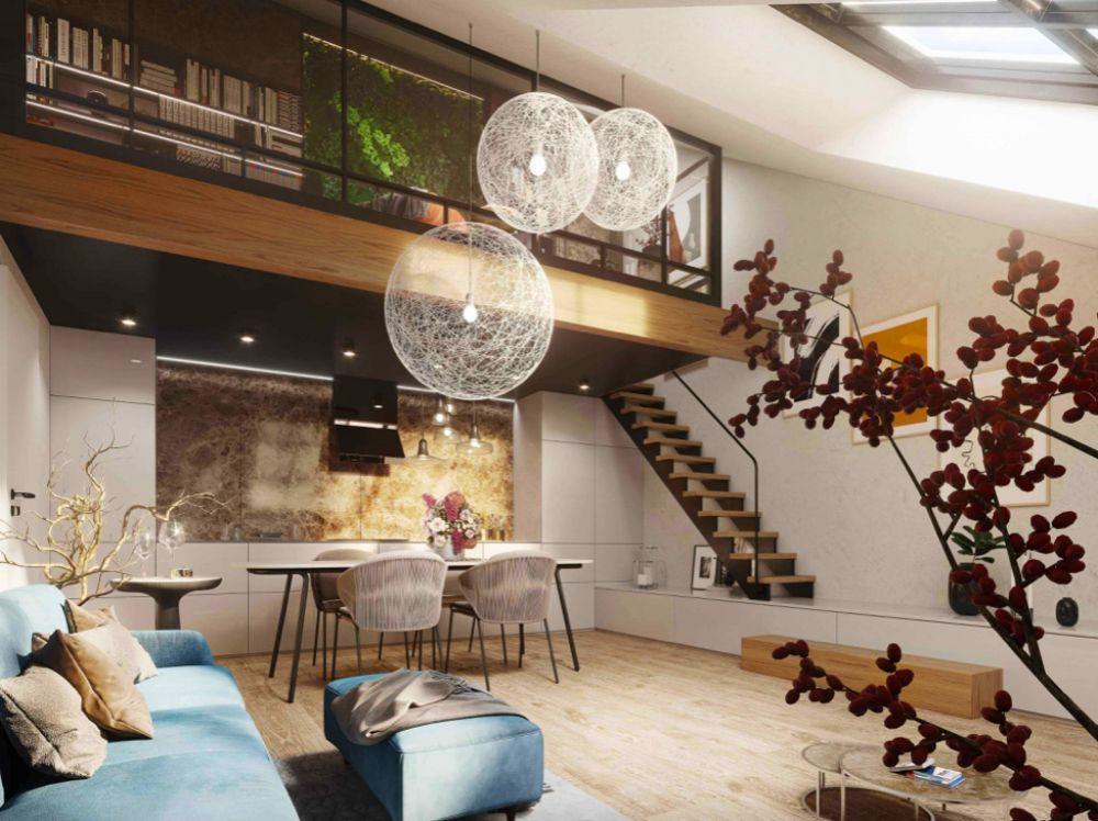 Vizualizace obývacího pokoje - Půdní byt 3+kk, plocha 75 m², ulice Legerova, Praha 2 - Nové Město | 1