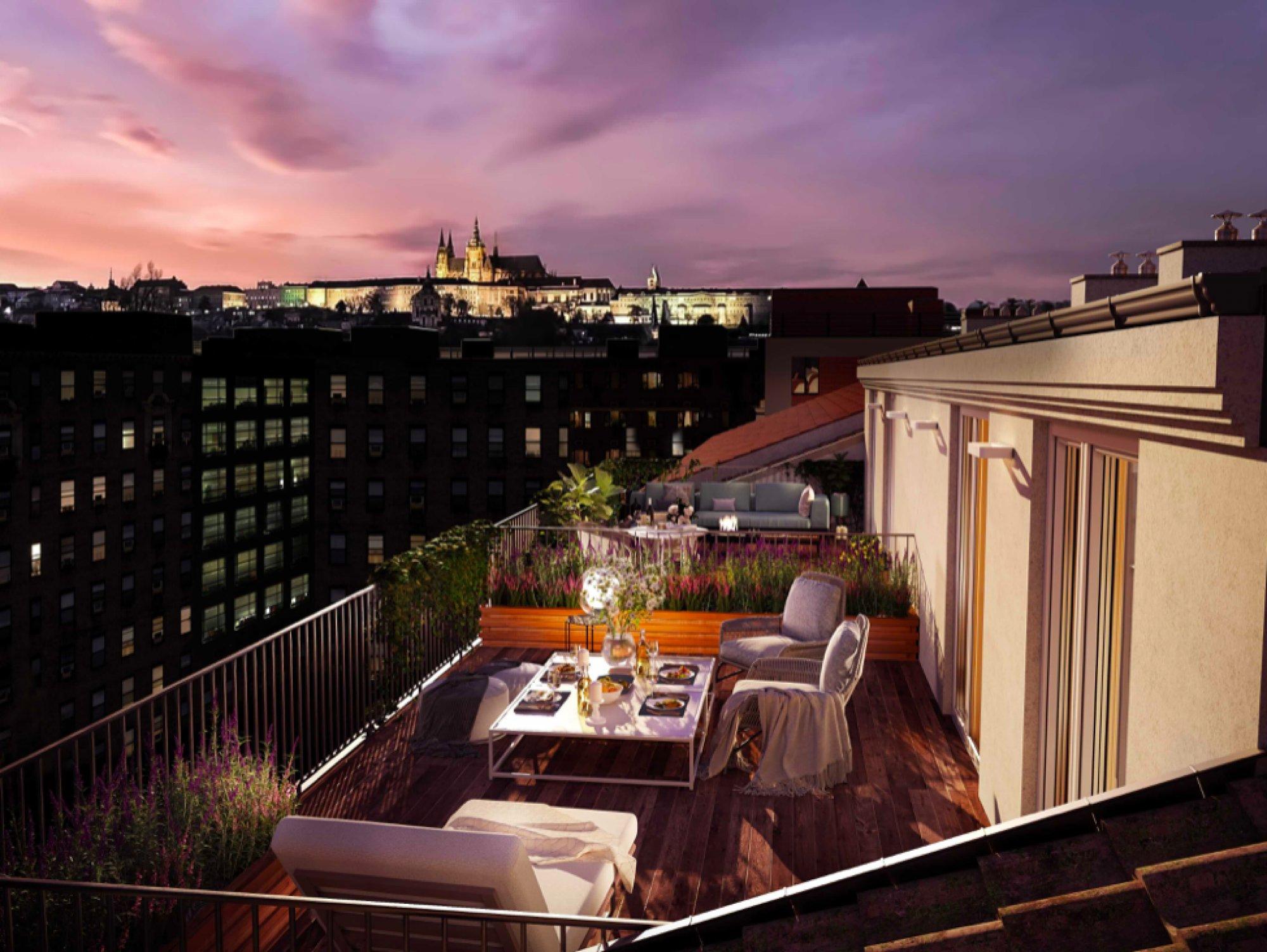 Výhled z terasy - Půdní byt 4+kk, plocha 118 m², ulice Legerova, Praha 2 - Nové Město | 2