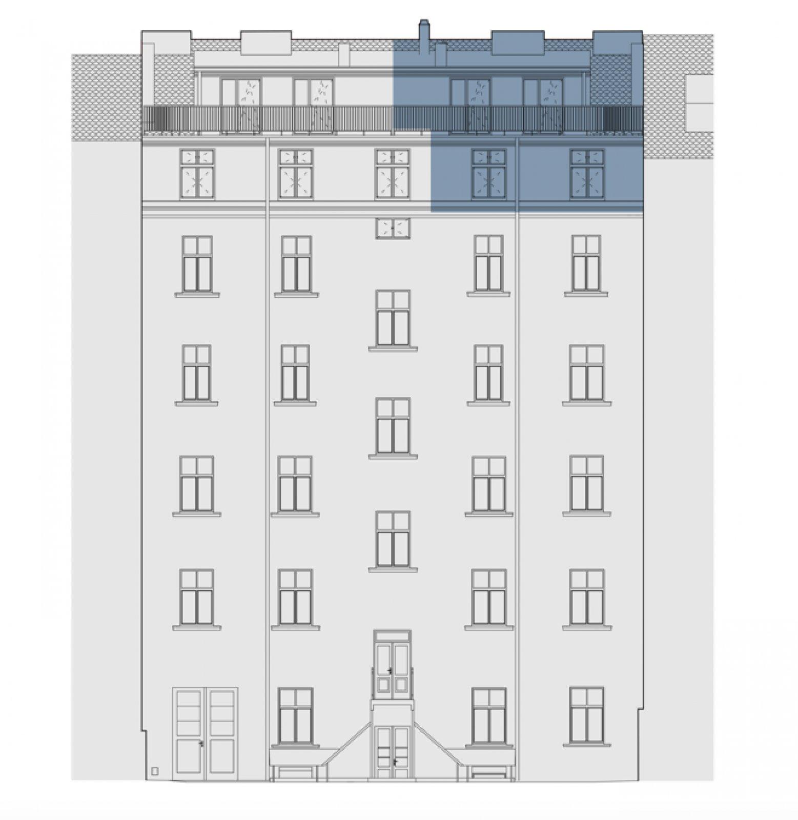 Půdorys - Půdní byt 4+kk, plocha 118 m², ulice Legerova, Praha 2 - Nové Město
