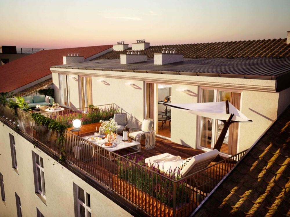 Pohled na terasu - Půdní byt 4+kk, plocha 118 m², ulice Legerova, Praha 2 - Nové Město | 1