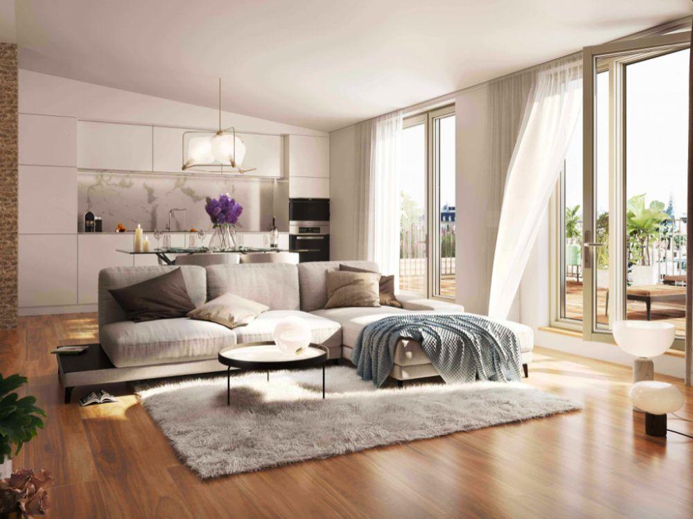 Vizualizace obývacího pokoje byt č. 604 -