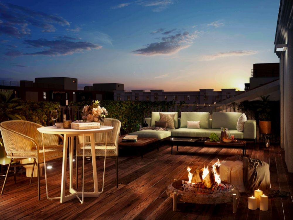 Vizualizace terasy - Půdní byt 4+kk, plocha 118 m², ulice Legerova, Praha 2 - Nové Město | 3