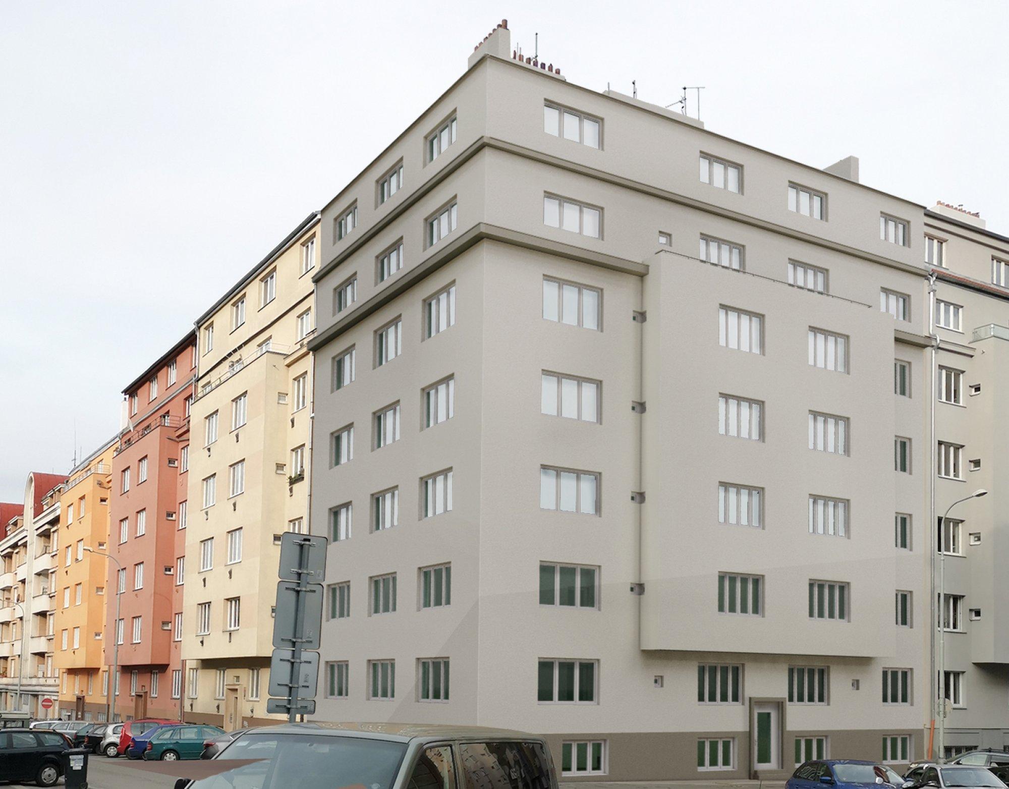 Vizualizace rohová - developerský projekt Viklefova, ulice Viklefova, Praha 8 - Žižkov | 1