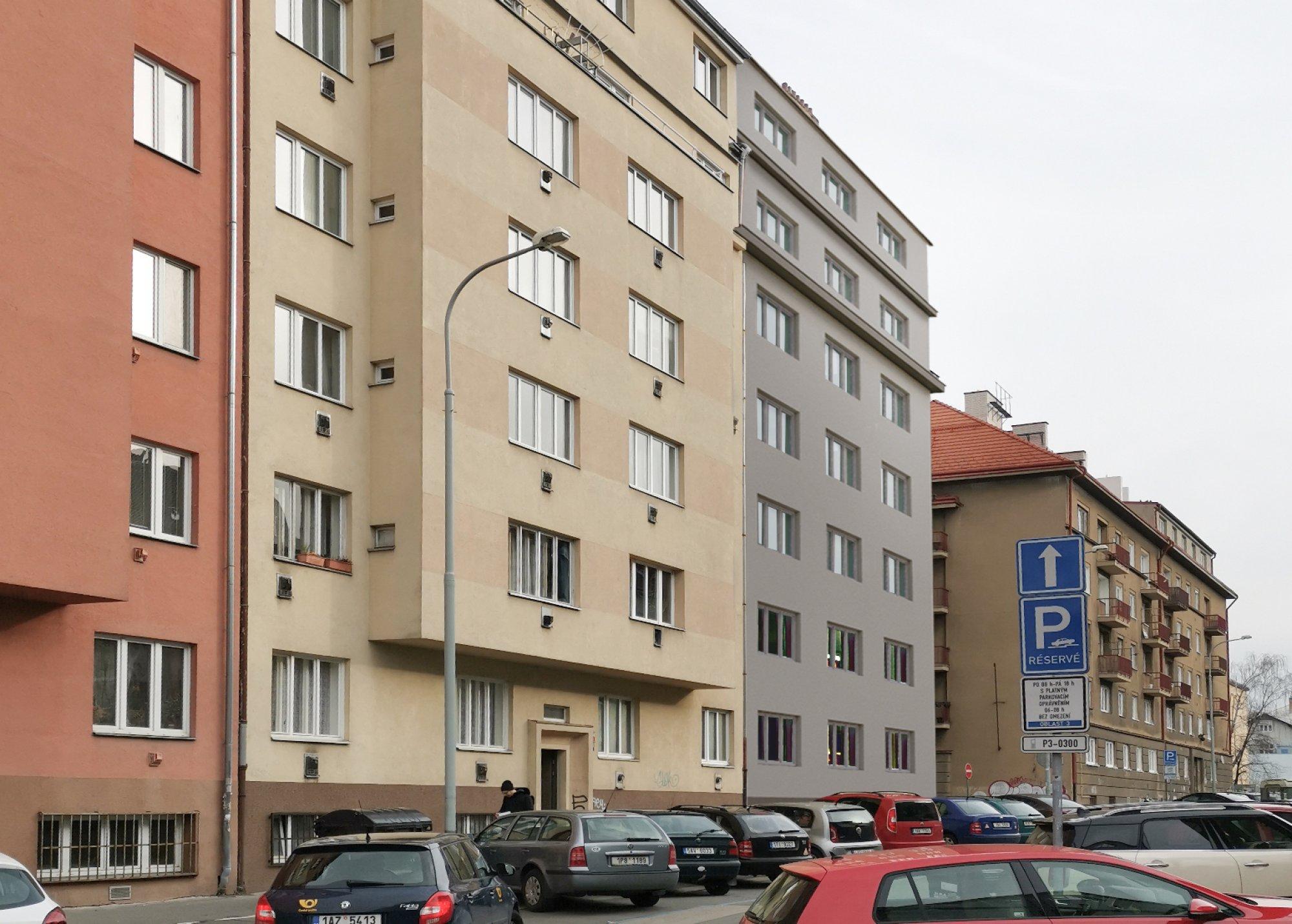 Vizualizace z ulice Jeseniova - developerský projekt Viklefova, ulice Viklefova, Praha 8 - Žižkov | 2