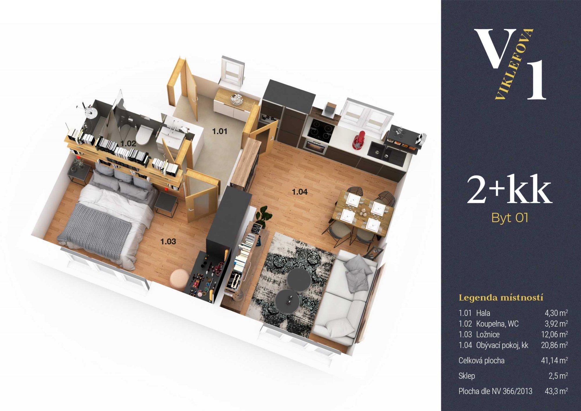Půdorys - Půdní byt 2+kk, plocha 43 m², ulice Viklefova, Praha 8 - Žižkov