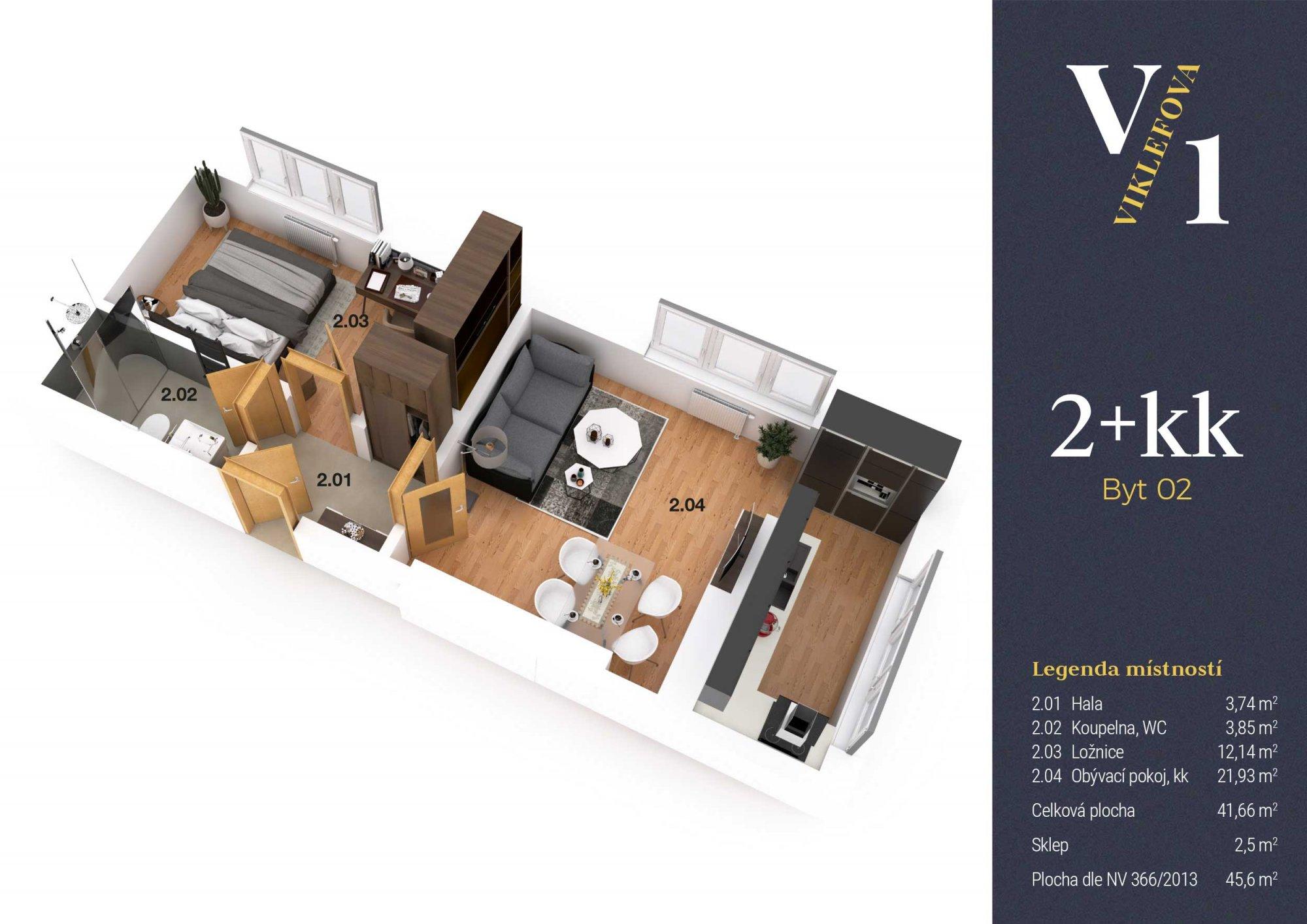 Půdorys - Půdní byt 2+kk, plocha 46 m², ulice Viklefova, Praha 8 - Žižkov