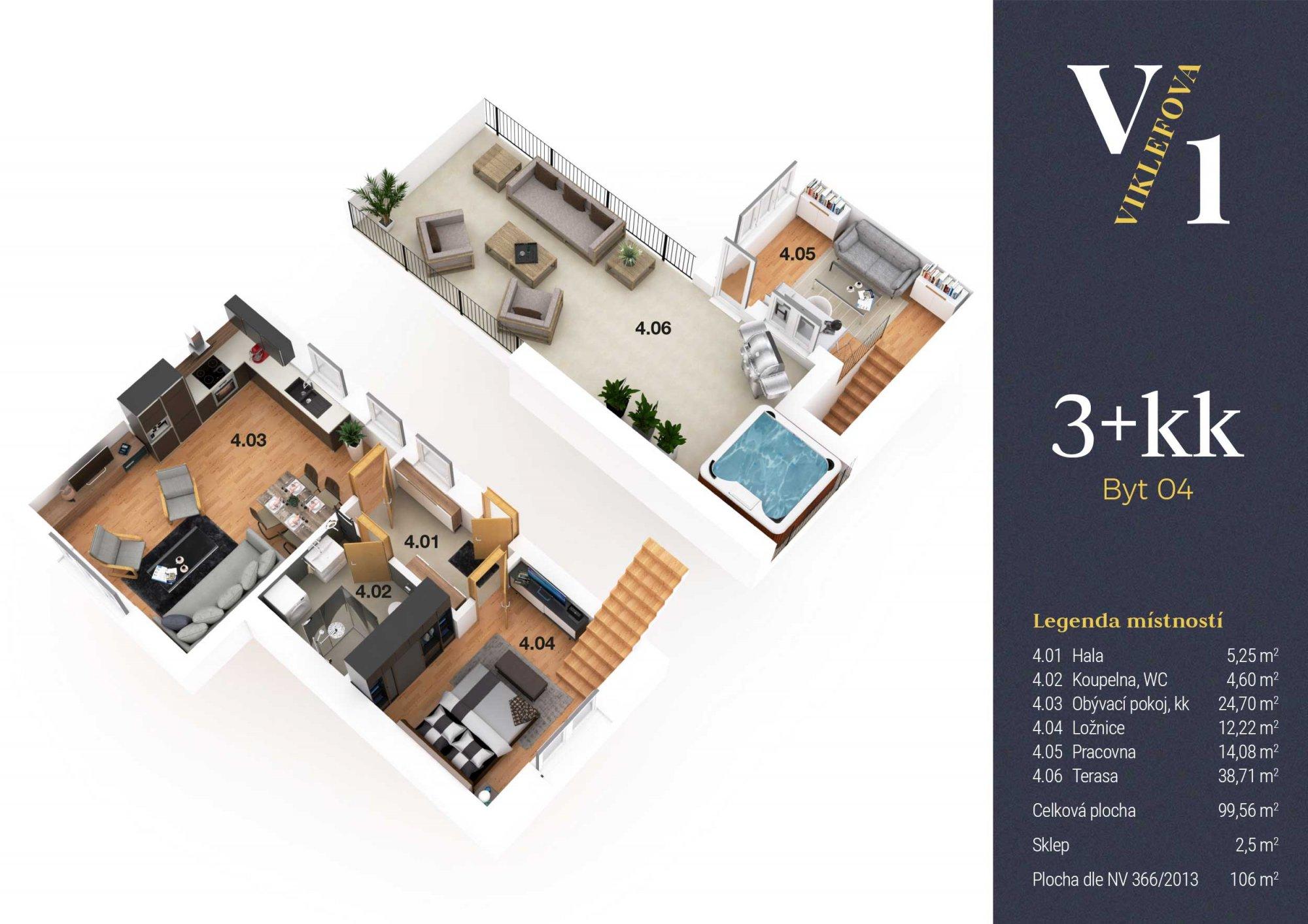 Půdorys - Půdní byt 3+kk, plocha 106 m², ulice Viklefova, Praha 8 - Žižkov
