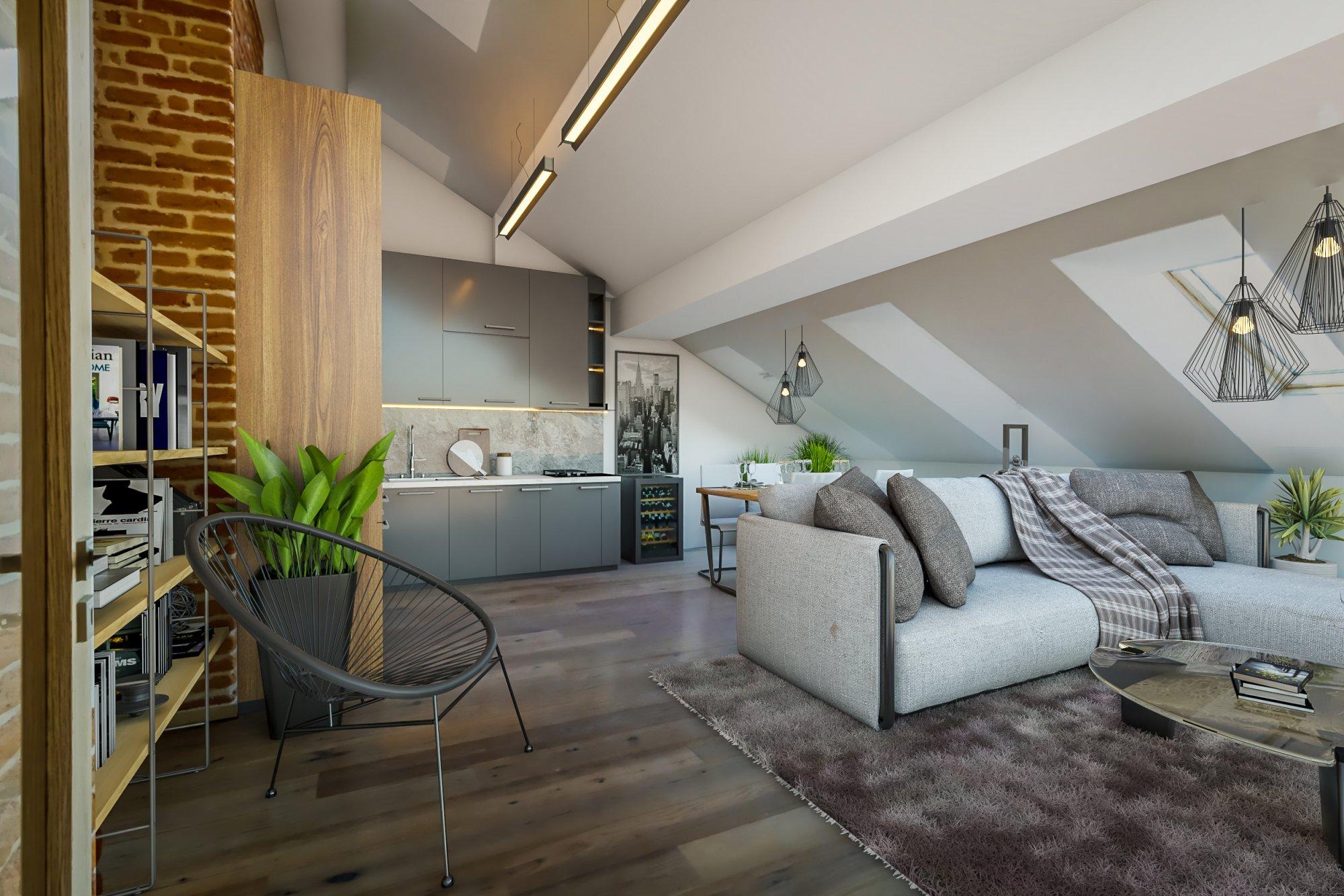 Půdní byt 4+kk, plocha 97 m², ulice Štefánikova, Praha 5 - Smíchov | 1