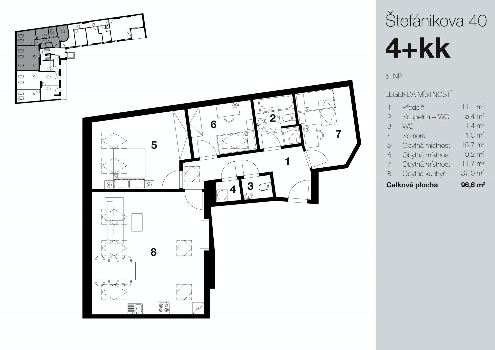 Půdorys - Půdní byt 4+kk, plocha 97 m², ulice Štefánikova, Praha 5 - Smíchov