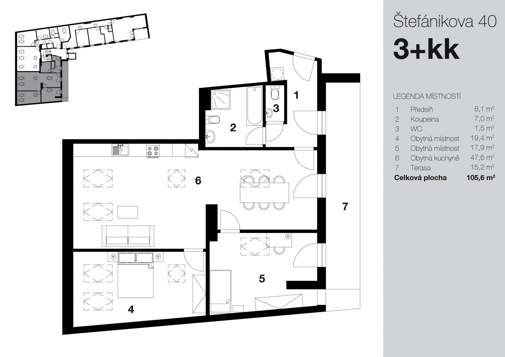 Půdorys - Půdní byt 3+kk, plocha 121 m², ulice Štefánikova, Praha 5 - Smíchov