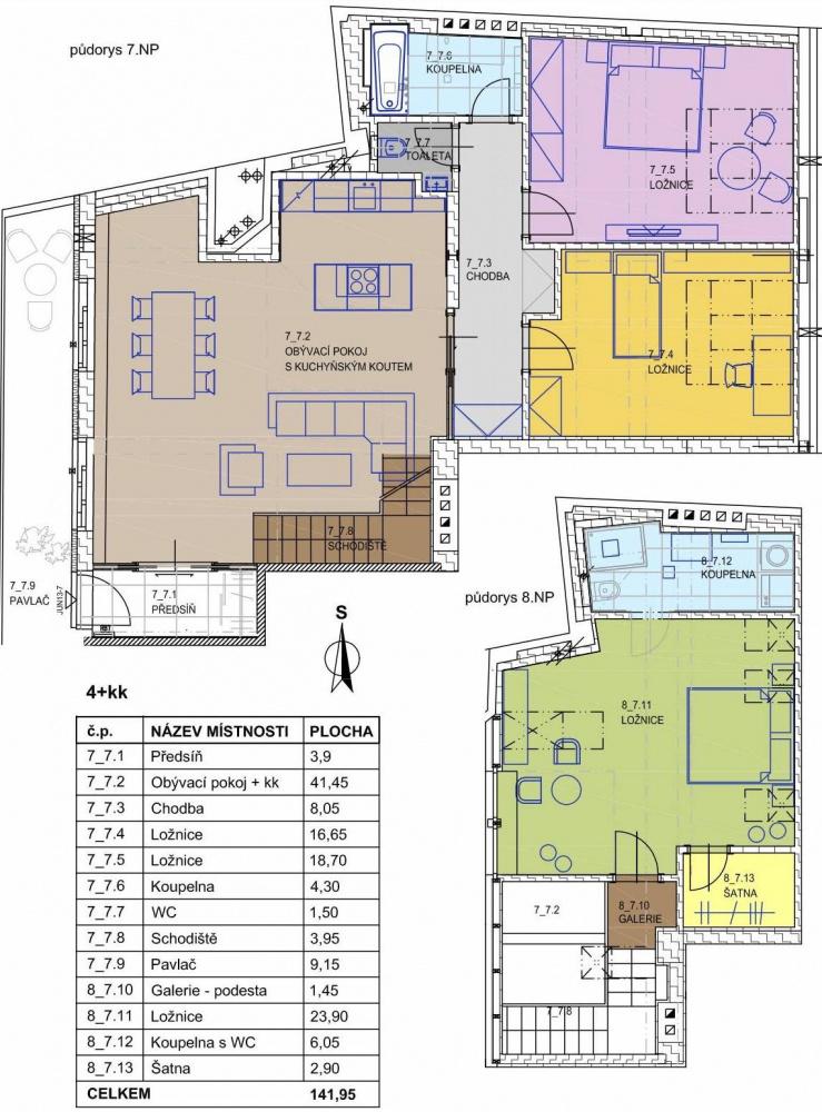 Půdorys - Půdní byt 4+kk, plocha 142 m², ulice Jungmannova, Praha 1 - Nové Město