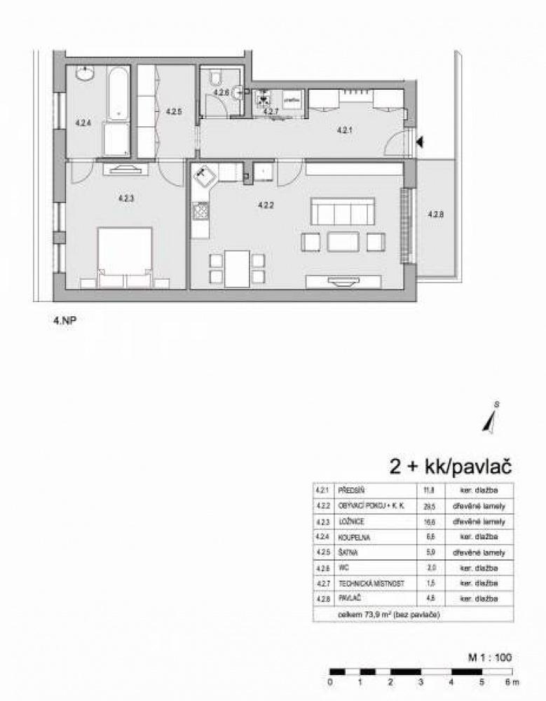 Půdorys - Půdní byt 2+kk, plocha 79 m², ulice Lumírova, Praha 2 - Vyšehrad