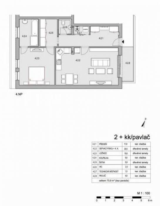 Půdní byt 2+kk, plocha 79 m², ulice Lumírova, Praha 2 - Vyšehrad, cena 7 490 000 Kč | 16