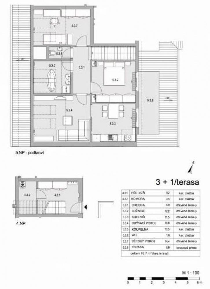 Půdorys - Půdní byt 3+1, plocha 98 m², ulice Lumírova, Praha 2 - Vyšehrad