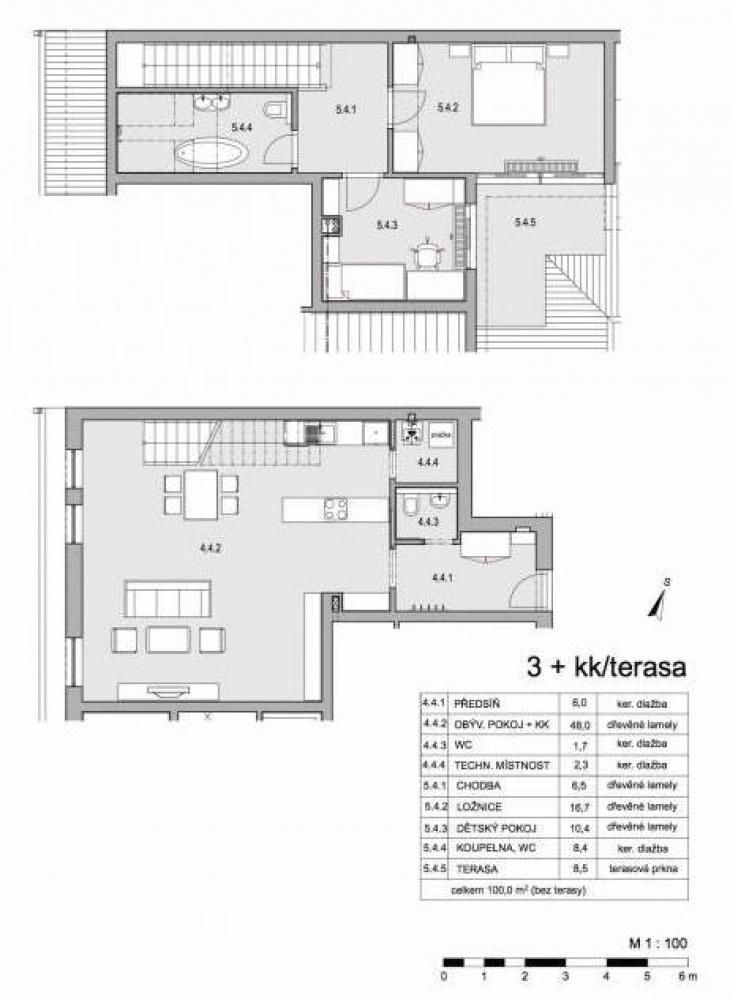 Půdorys - Půdní byt 3+kk, plocha 109 m², ulice Lumírova, Praha 2 - Vyšehrad